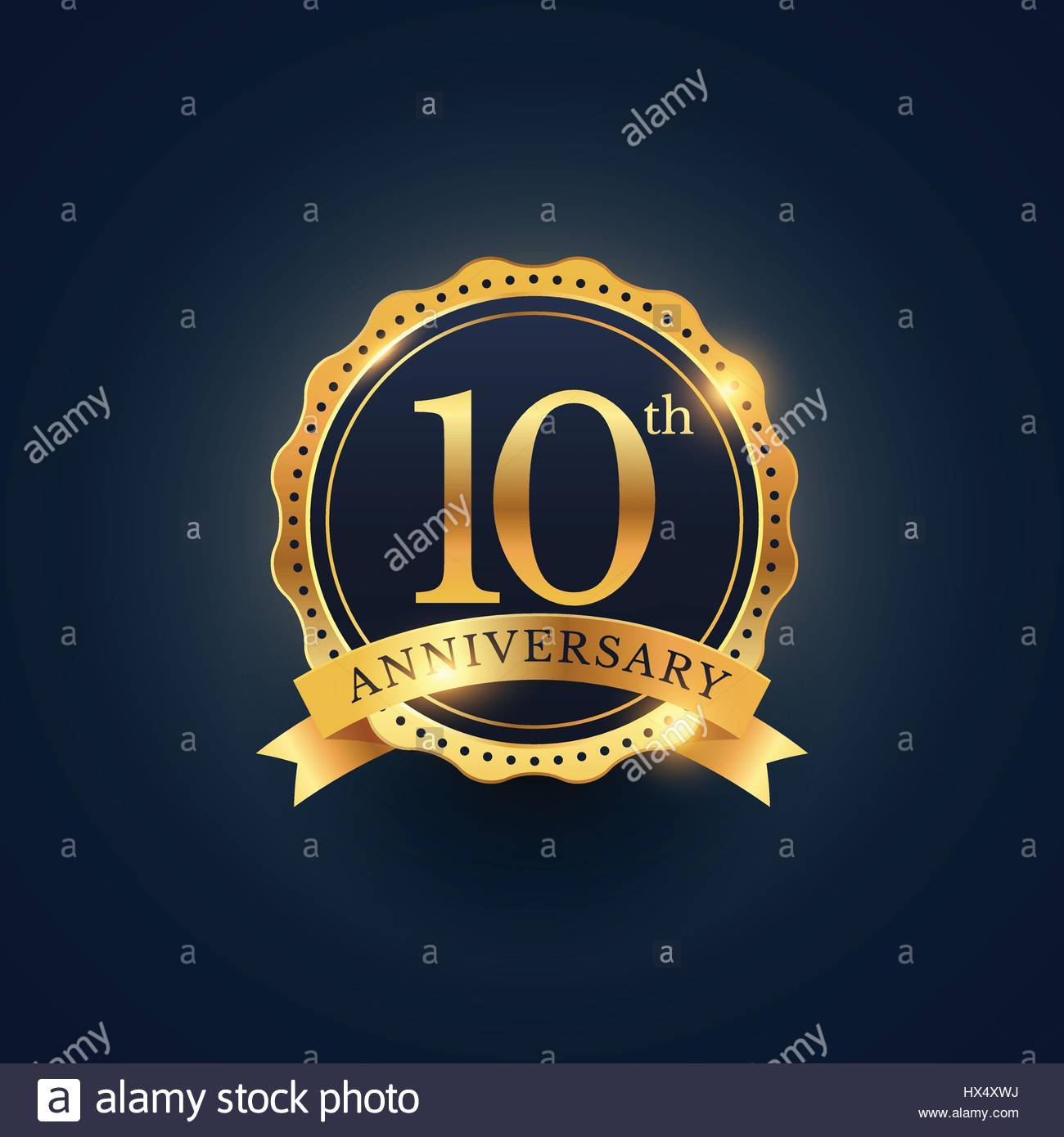 10th anniversary celebration badge label in golden color - Stock Vector
