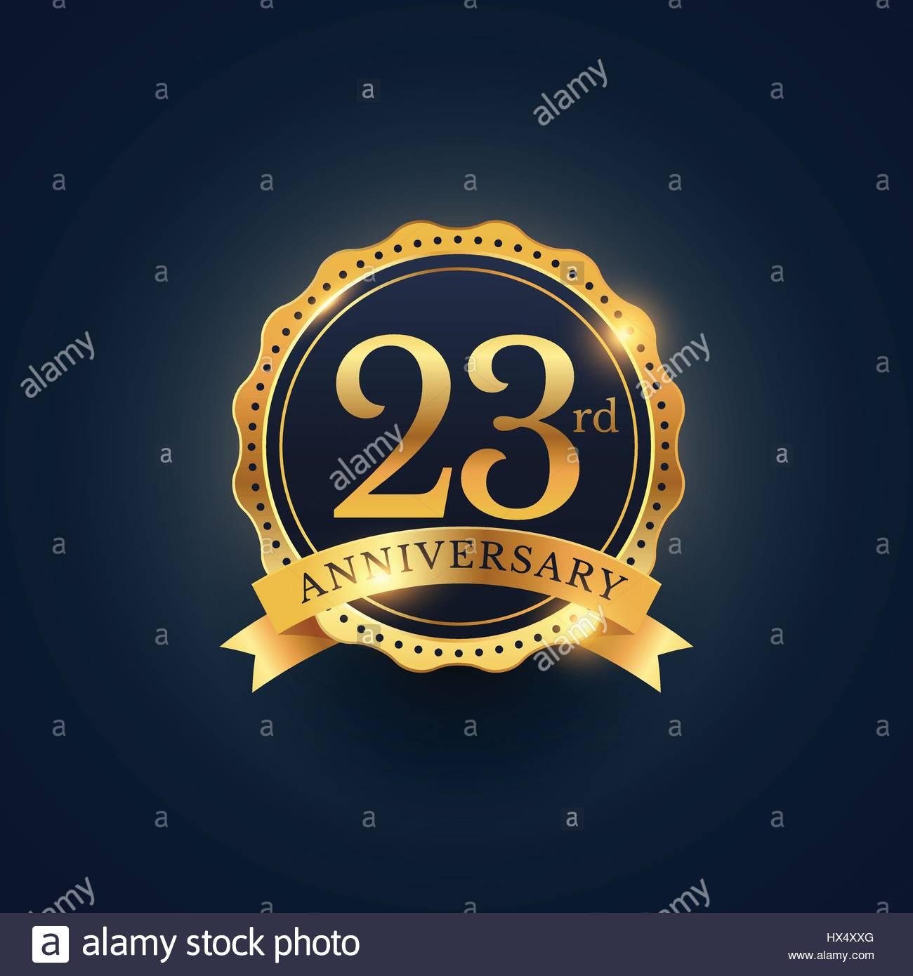 23rd anniversary celebration badge label in golden color - Stock Vector