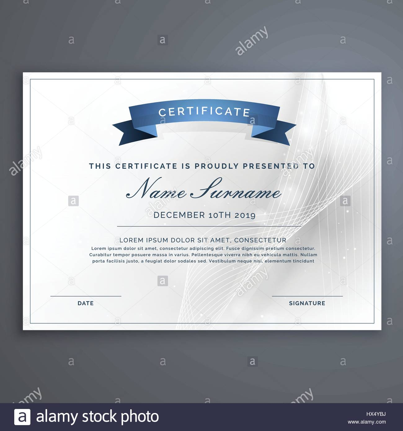 Clean And Modern Diploma Certificate Template Stock Vector Art