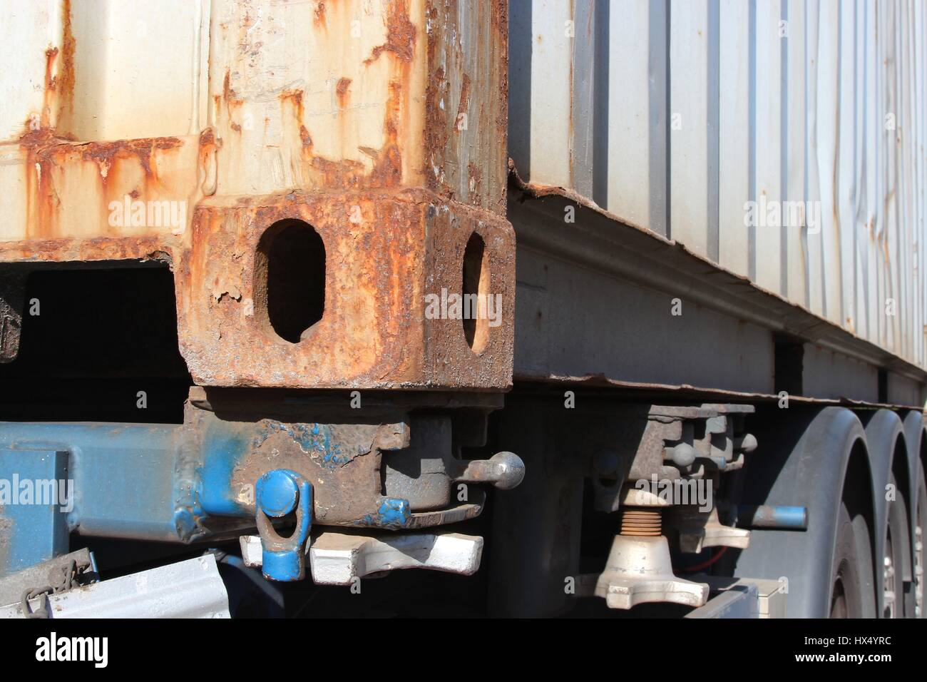 intermodal container on trailer - Stock Image