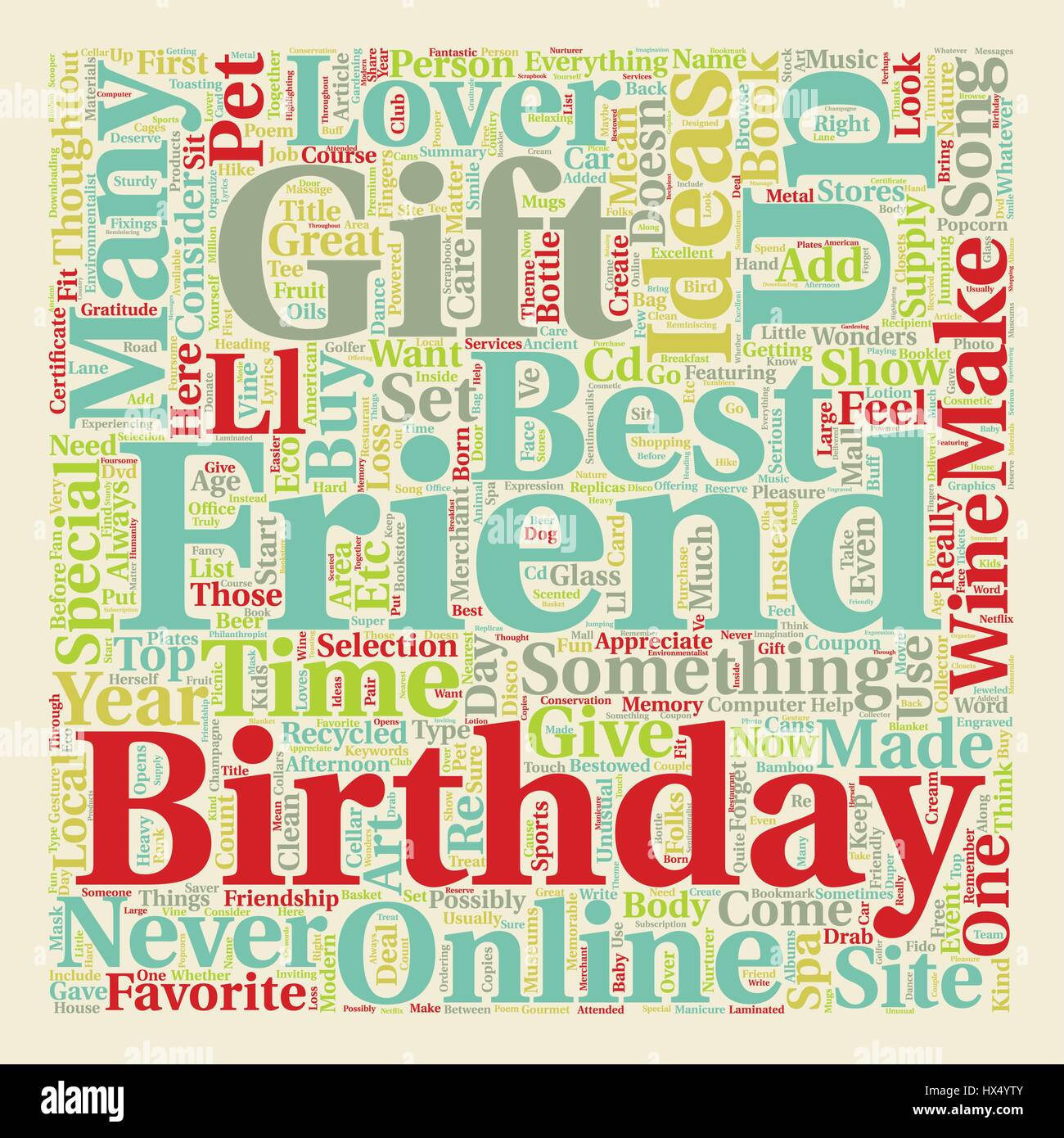 Best Friend Birthday Gift Ideas Text Background Wordcloud Concept