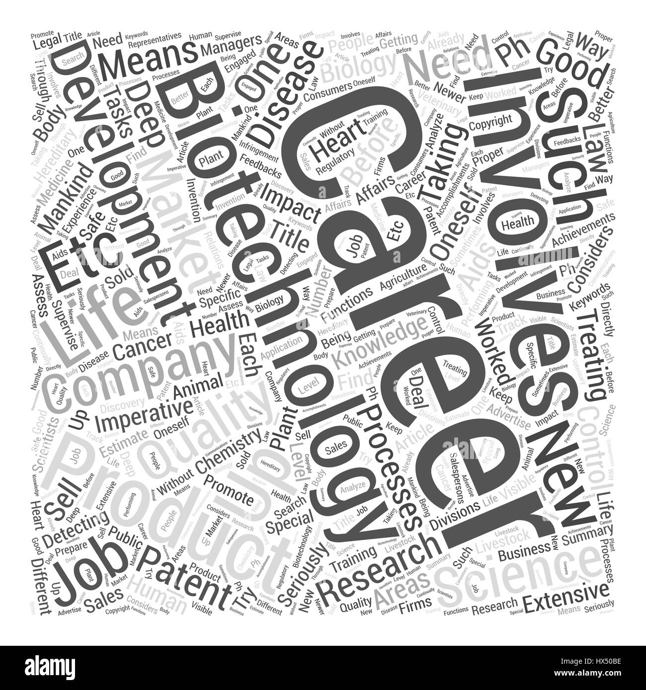Biotechnology Careers Word Cloud Concept - Stock Image