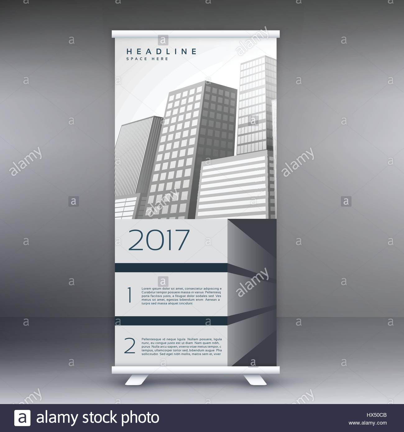 gray standee roll up banner template design concept for marketing ...