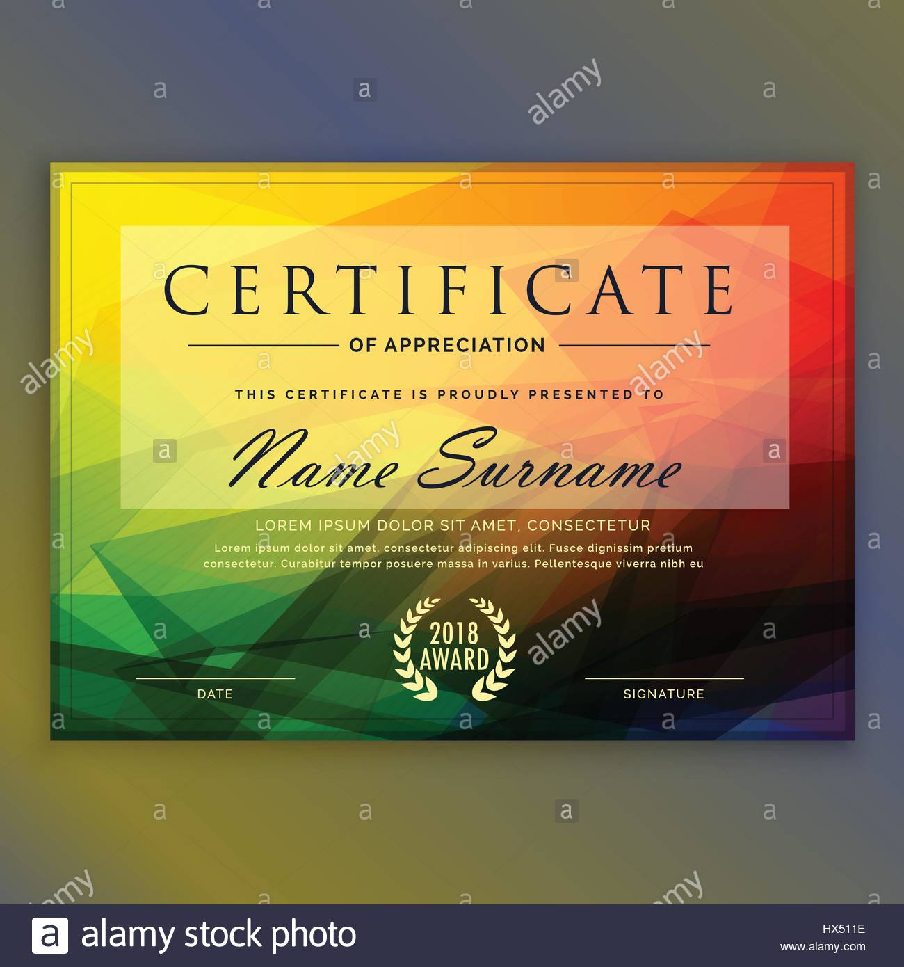 abstract colorful certificate design template stock vector art