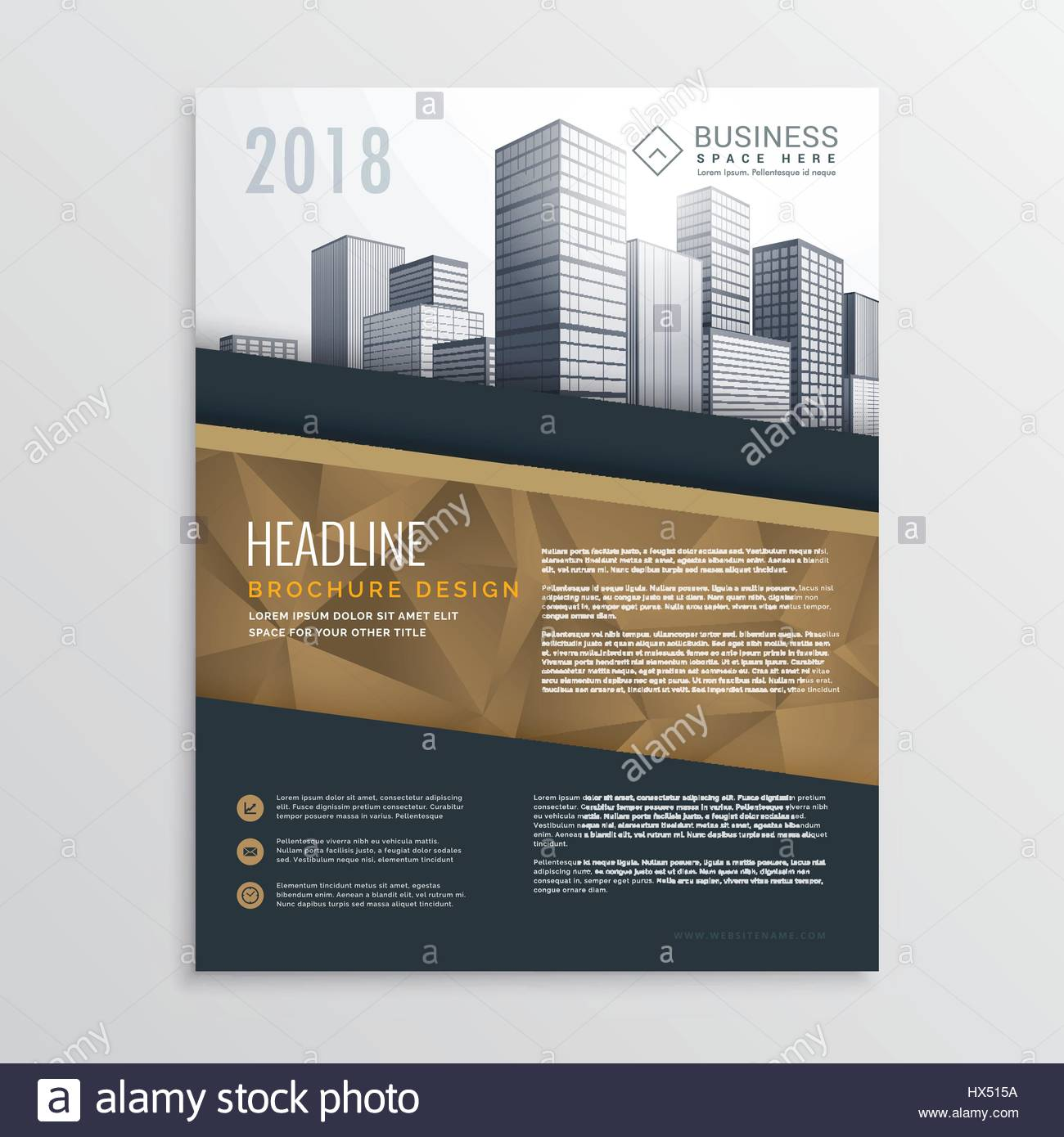 real estate brochure flyer template design with city buildings - Settlement Brochure Template