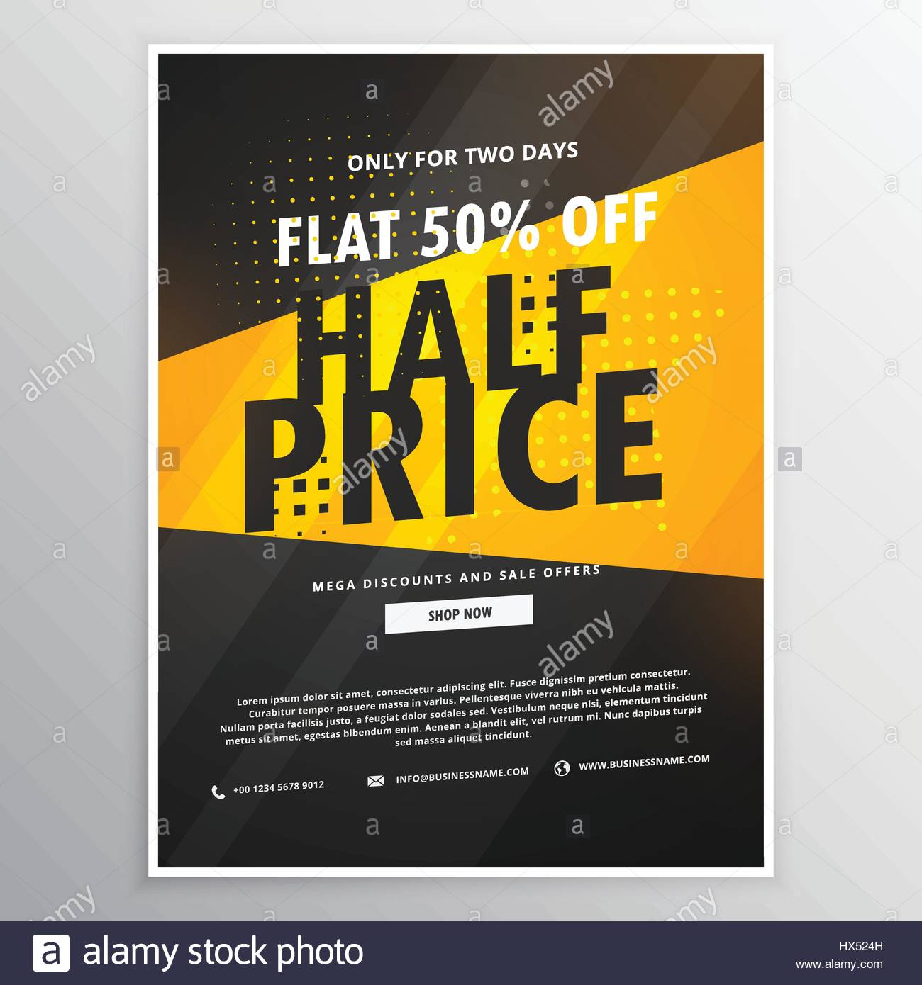 half price sale brochure flyer promotional template in yellow and