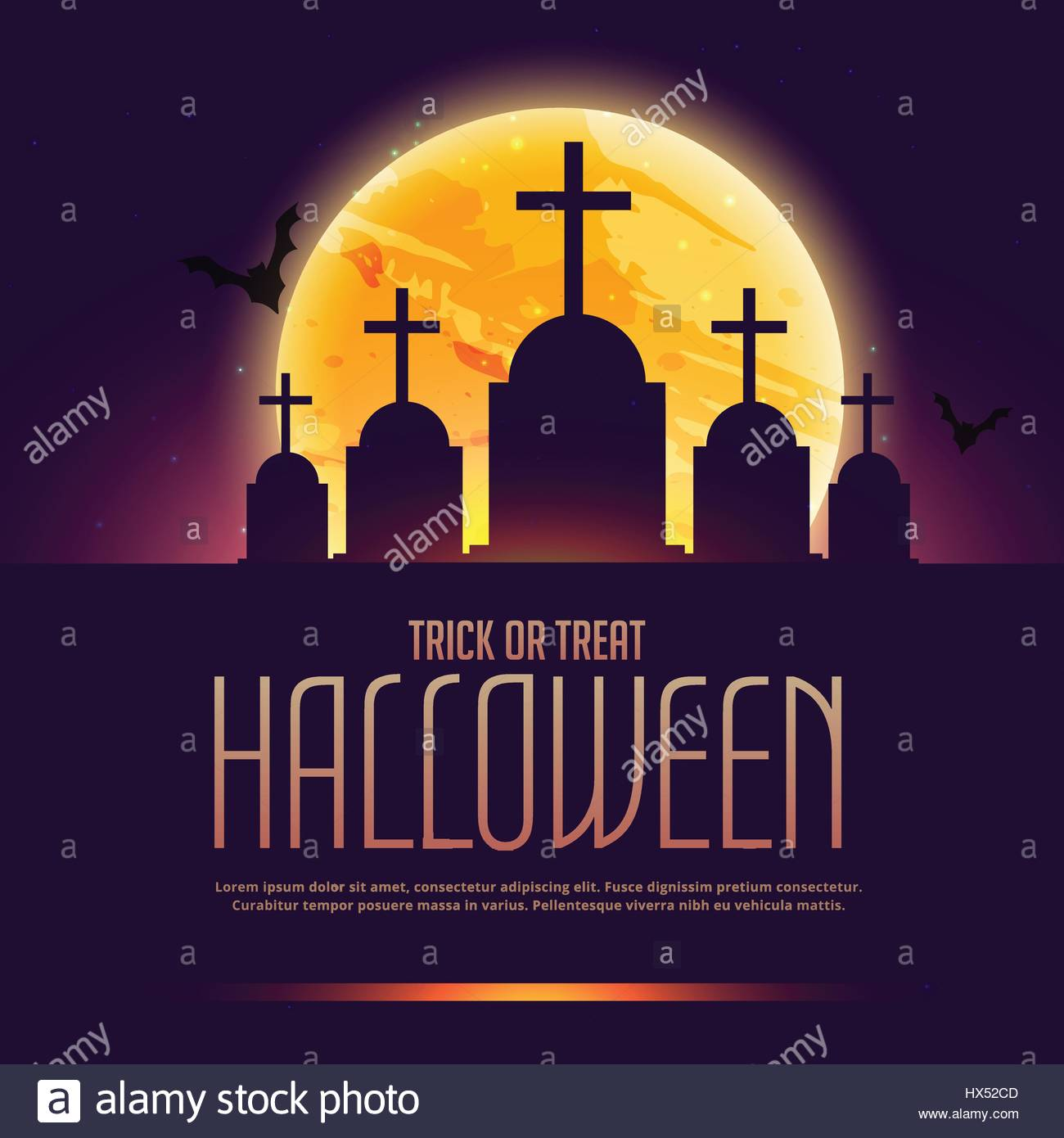 halloween grave poster with moon - Stock Vector