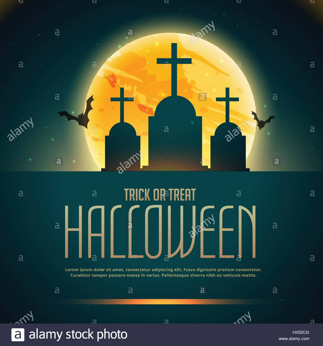 creepy halloween poaster with grave and flying bats - Stock Vector