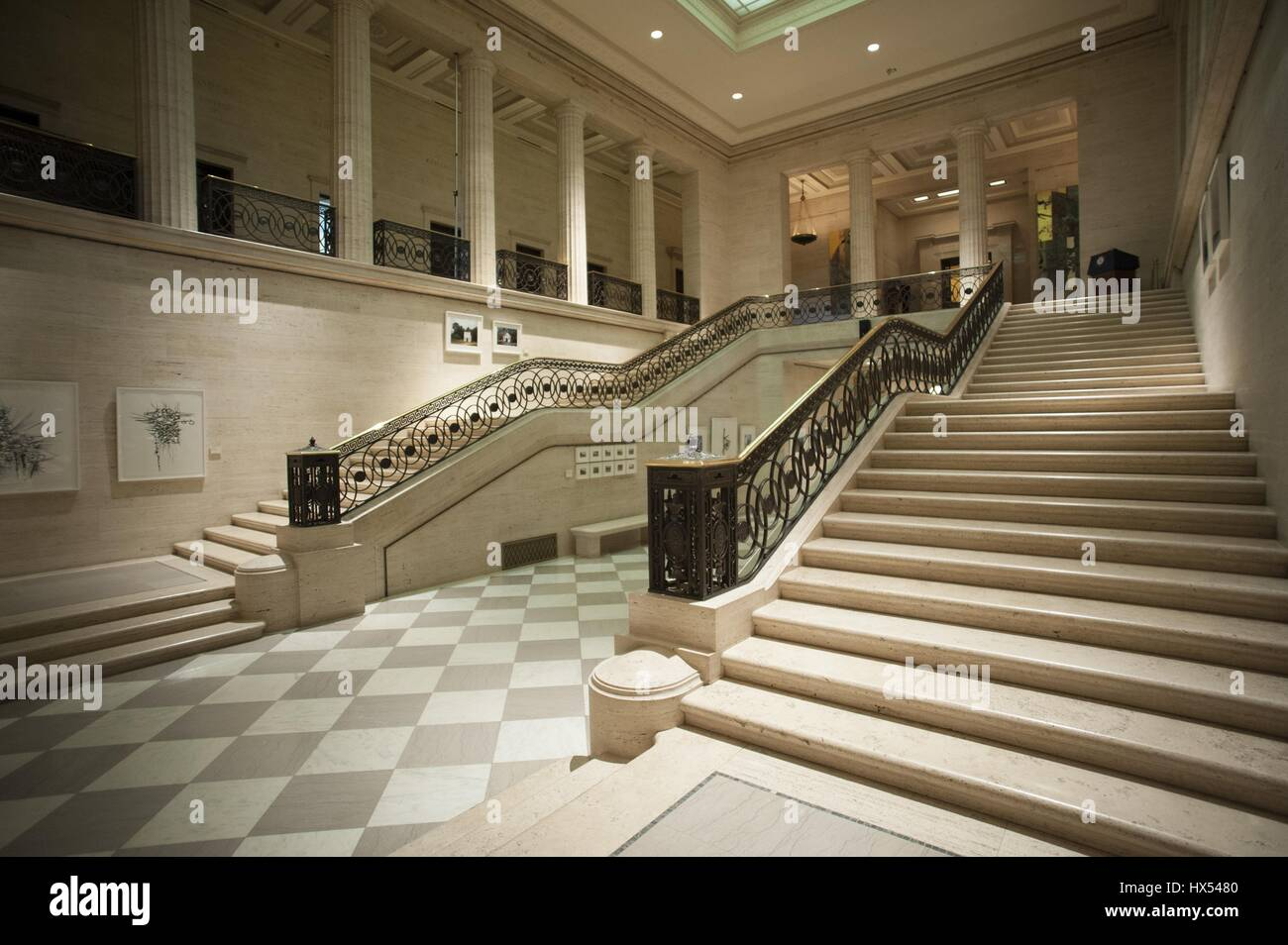 The view from the first floor of the atrium of the Marriner S Eccles Federal Reserve Board Building, Washington - Stock Image