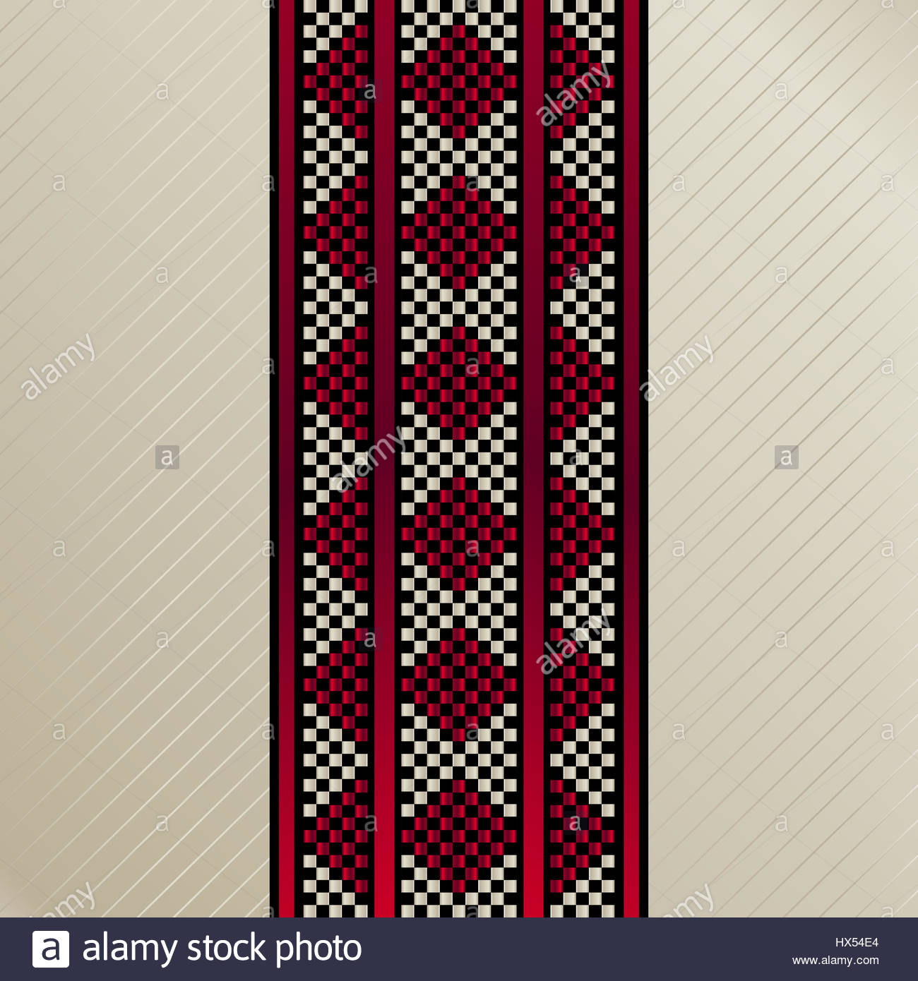 Square Tile Of An Arabian Traditional Sadu Rug Carpet Motif - Stock Image