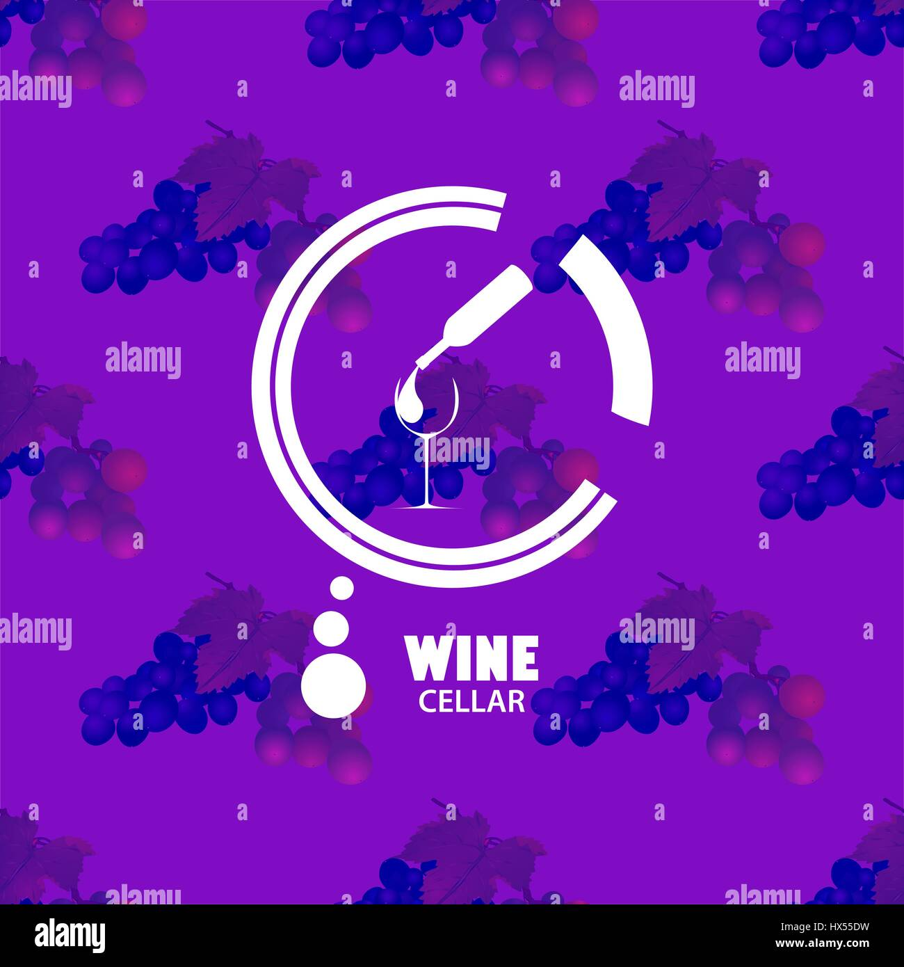 Logo of wine on the texture.The texture of the picture bunches of grapes.Wine is poured from a bottle into a glass.Vector - Stock Image
