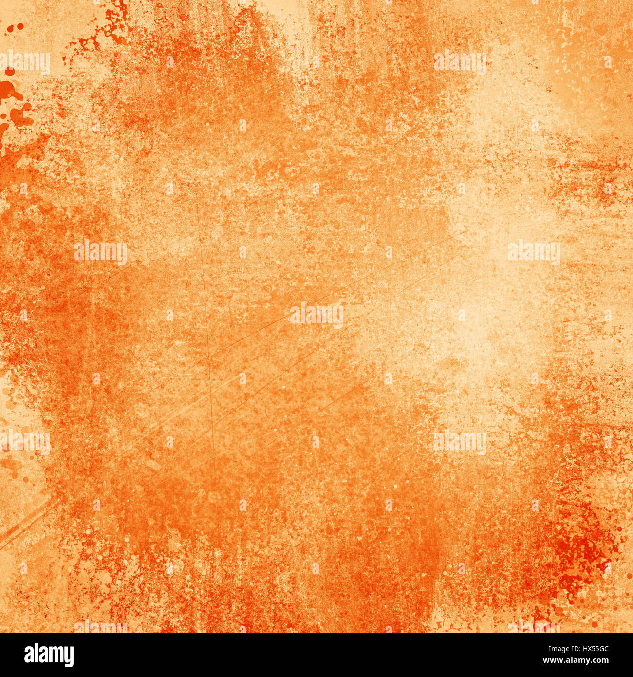 Old Bright Orange Paper Background With Grunge And Messy Stains Paint Blotches Distressed Faded Wallpaper Design Grungy Antique Texture