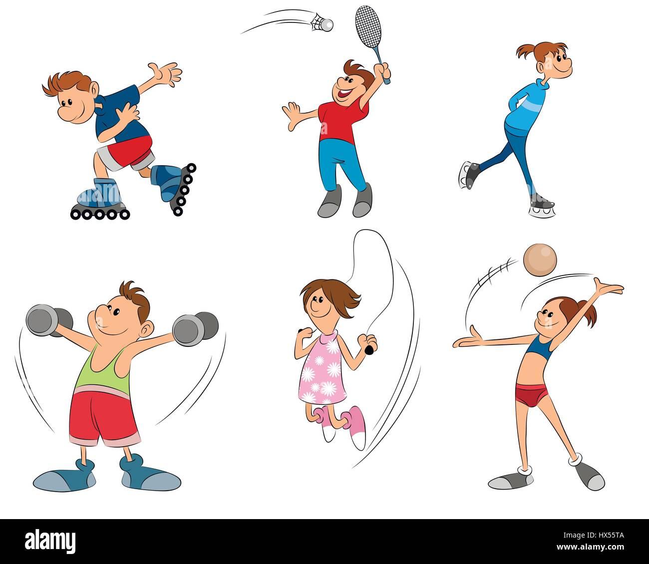 vector illustration of six kids practice sport - Stock Image