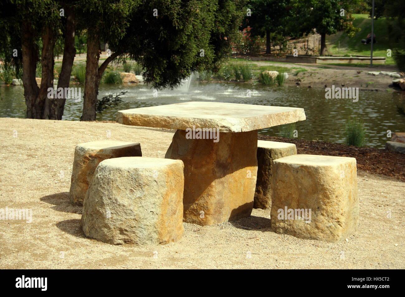 Stone Picnic Setting In A Public Park   Stock Image