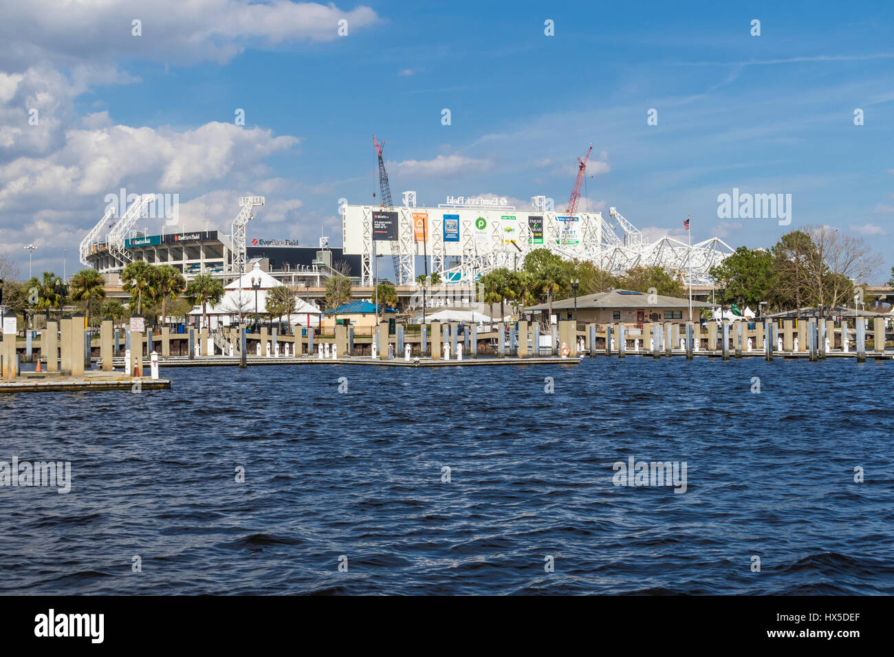 Everbank Field stadium (NFL team Jaguars) on St Johns River in downtown Jacksonville, Florida. Recently renamed - Stock Image