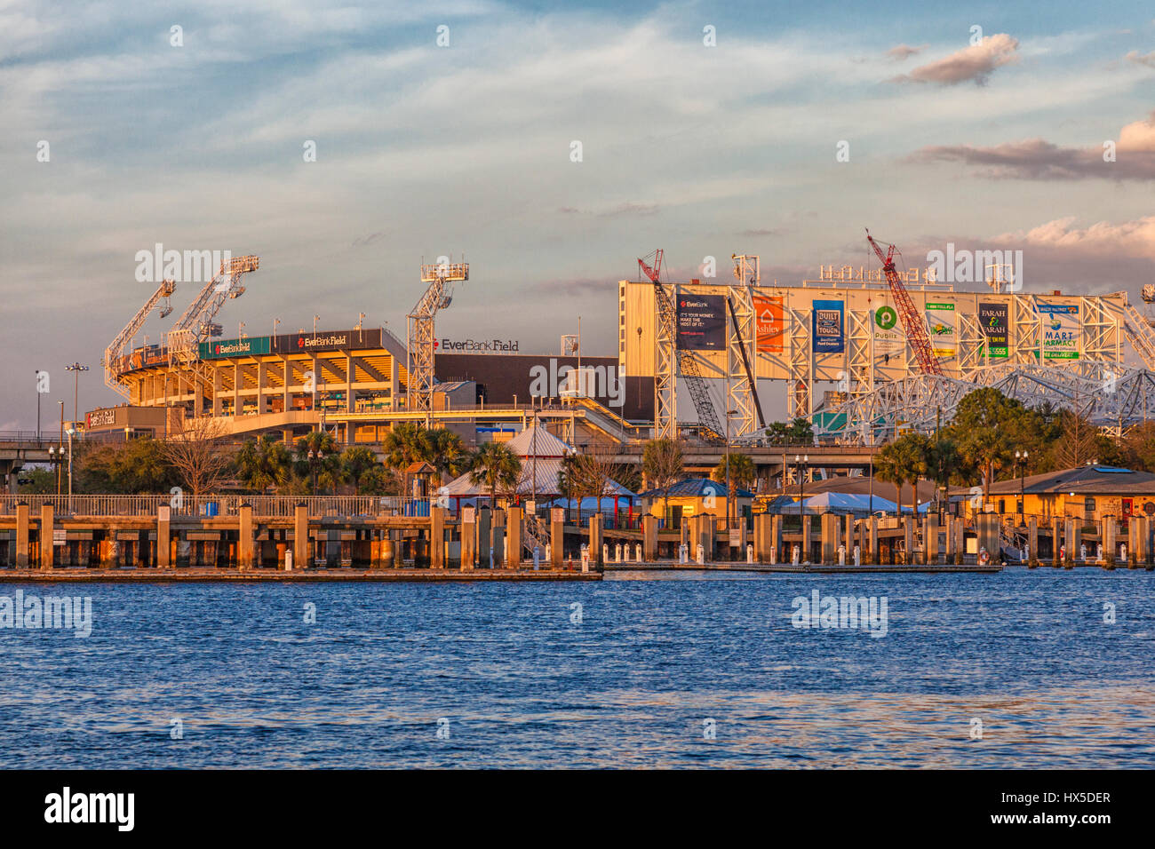 Sunset on Everbank Field stadium (NFL team Jaguars) on St Johns River in downtown Jacksonville, Florida. Recently - Stock Image