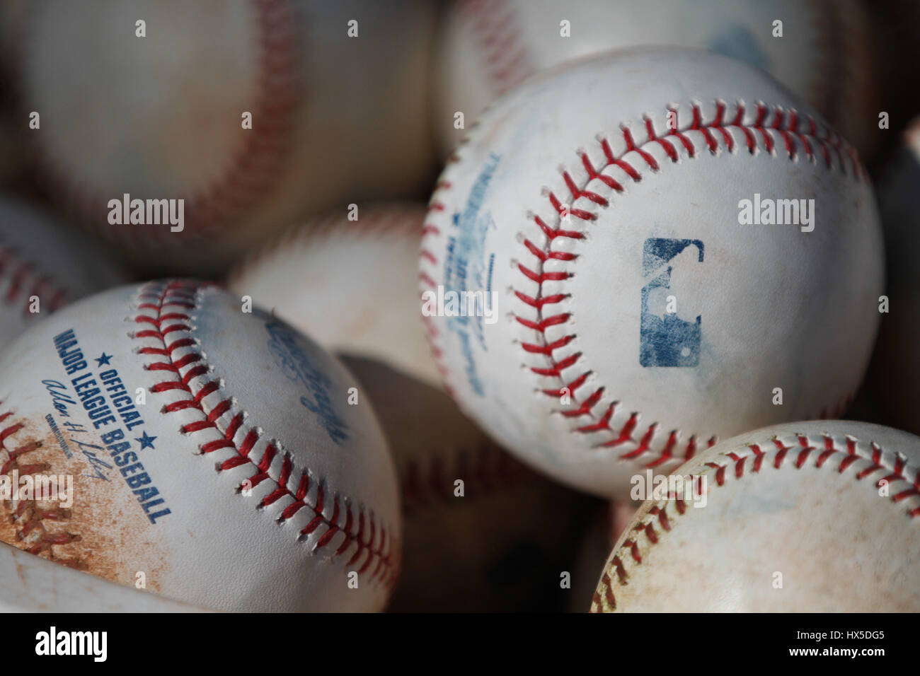 Baseball Balls of Major League Baseball in Training Royals of Kansas City r at the Surprise Recreation Complex of Stock Photo