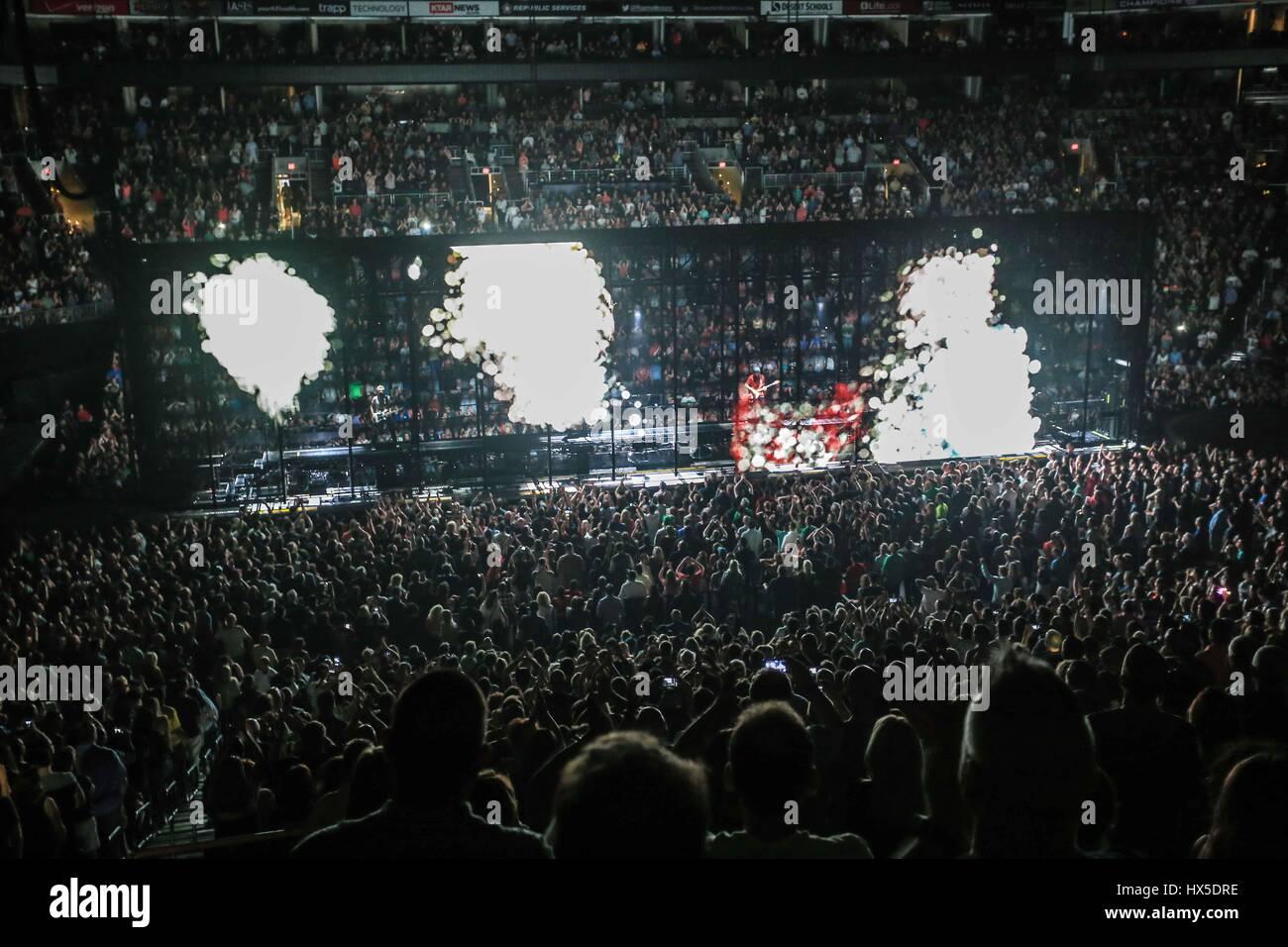 rock band U2 during world tour in the Airways Center in Phoenix