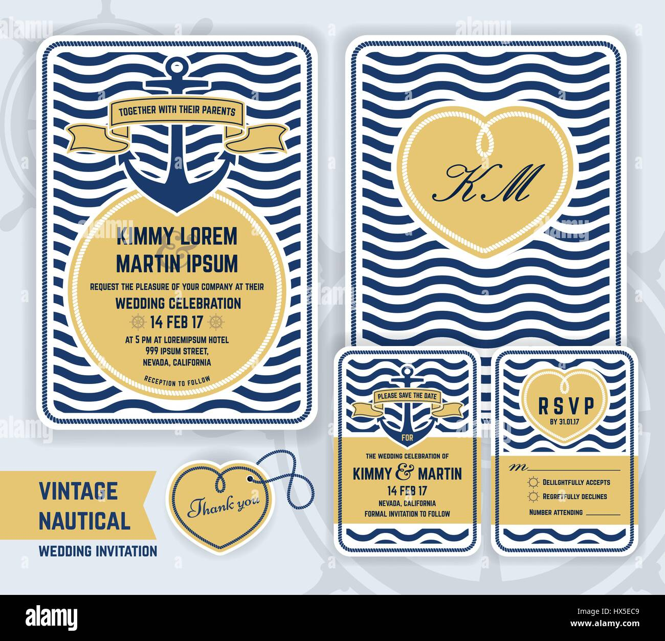 Vintage nautical anchor wedding invitation template design include vintage nautical anchor wedding invitation template design include invitation respond cards save the date thank you tags gift tags vector illust stopboris Gallery