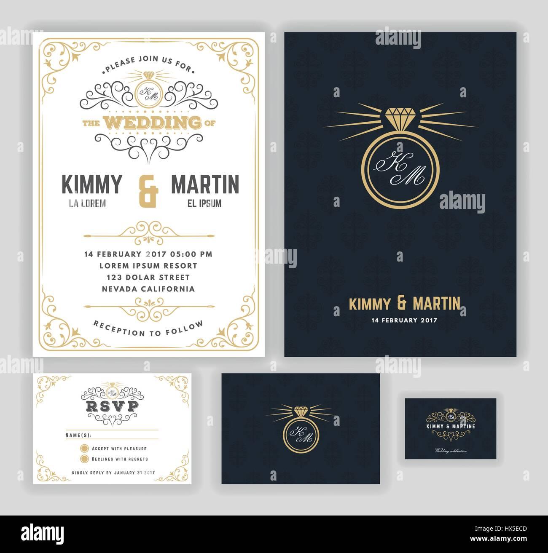 Creative wedding invitations with flourish and twirls design Stock ...