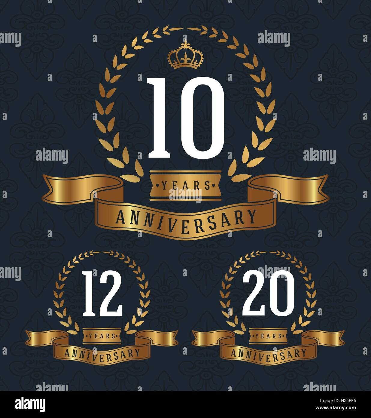 10,12,20 Years Anniversary decorative sign. Vector illustration - Stock Vector