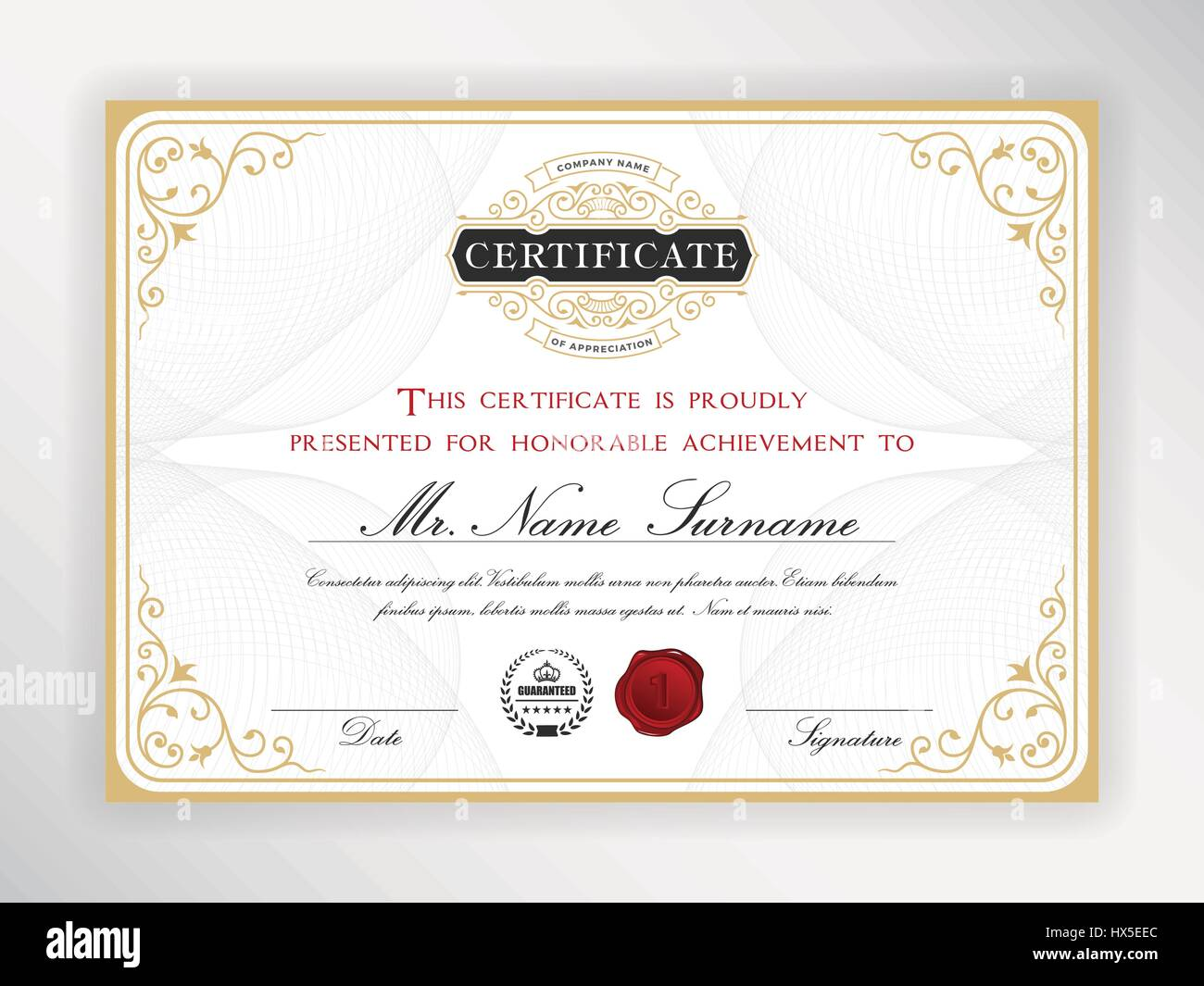 Elegant Certificate Template Design With Emblem Vintage Border A4
