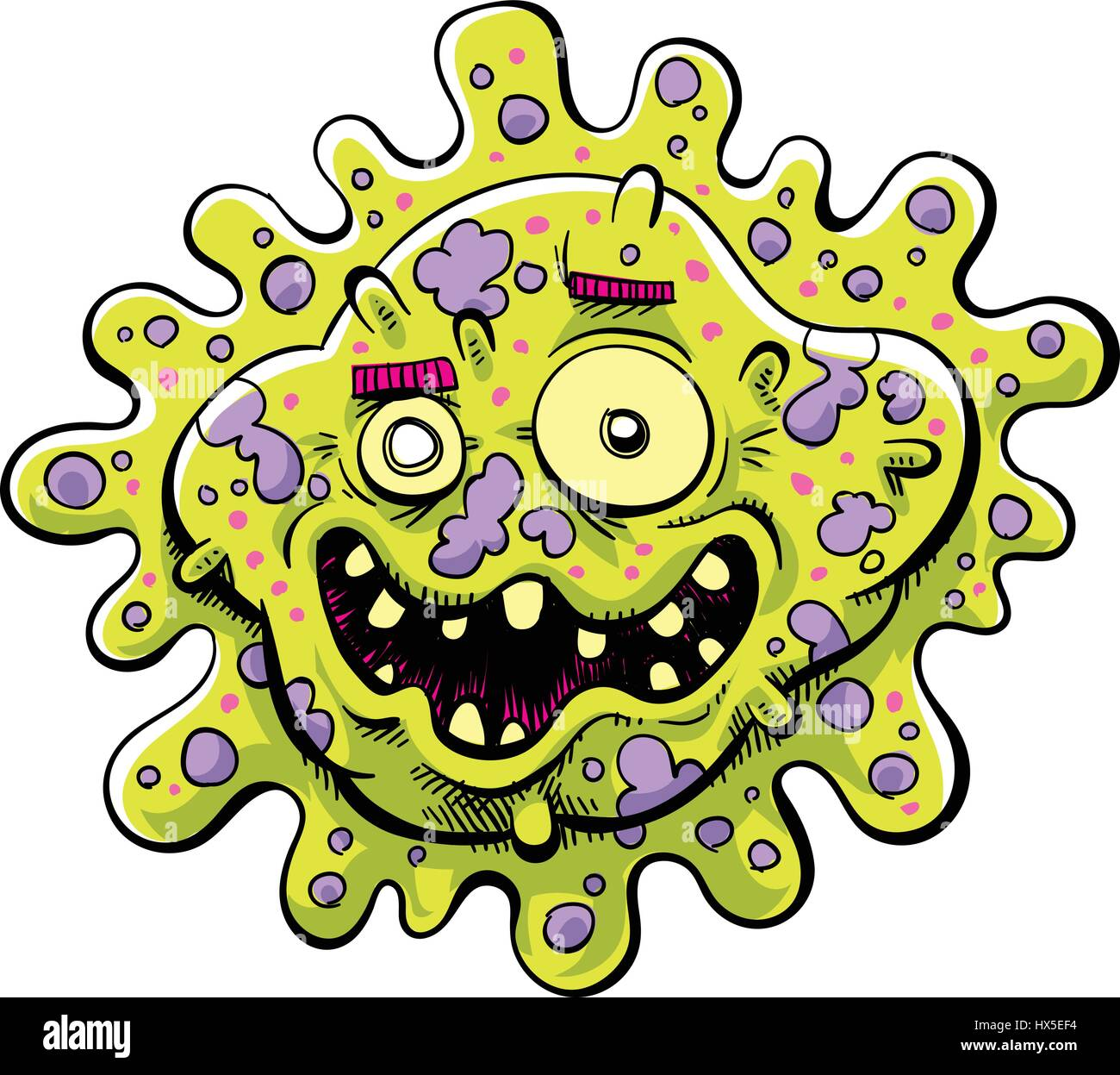 A happy cartoon bacteria germ with an ugly, toothy smile. - Stock Image