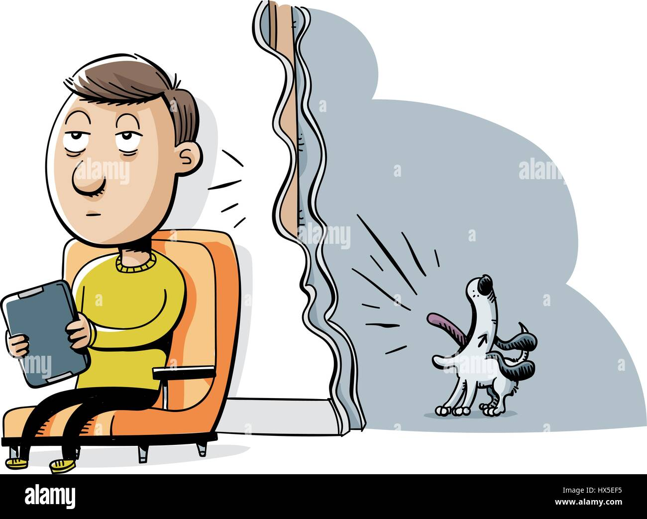 A cartoon man tries to enjoy quiet time but is distracted by a dog barking in a neighbouring room. - Stock Image