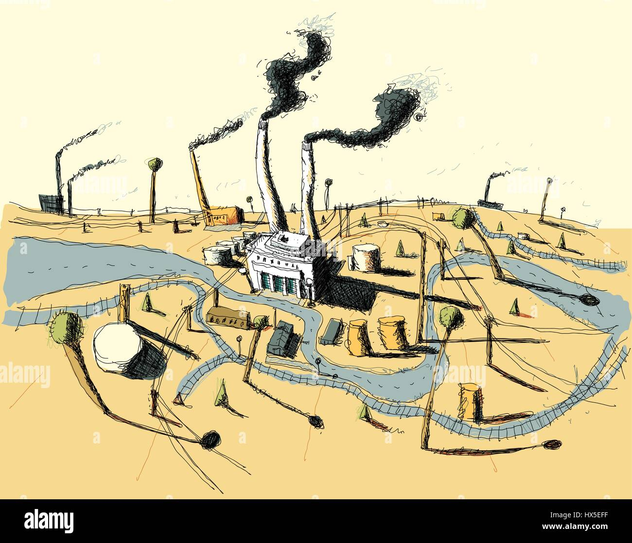 Illustration of an urban industrial zone with factories and smokestacks. - Stock Vector