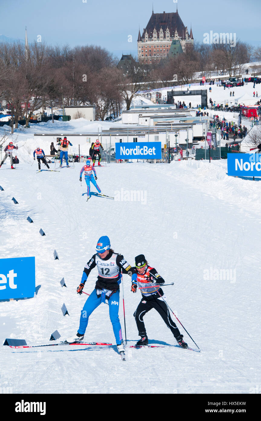 Skiers compete in the FIS Cross Country skiing competition in Quebec City, Quebec, Canada, 2016. - Stock Image