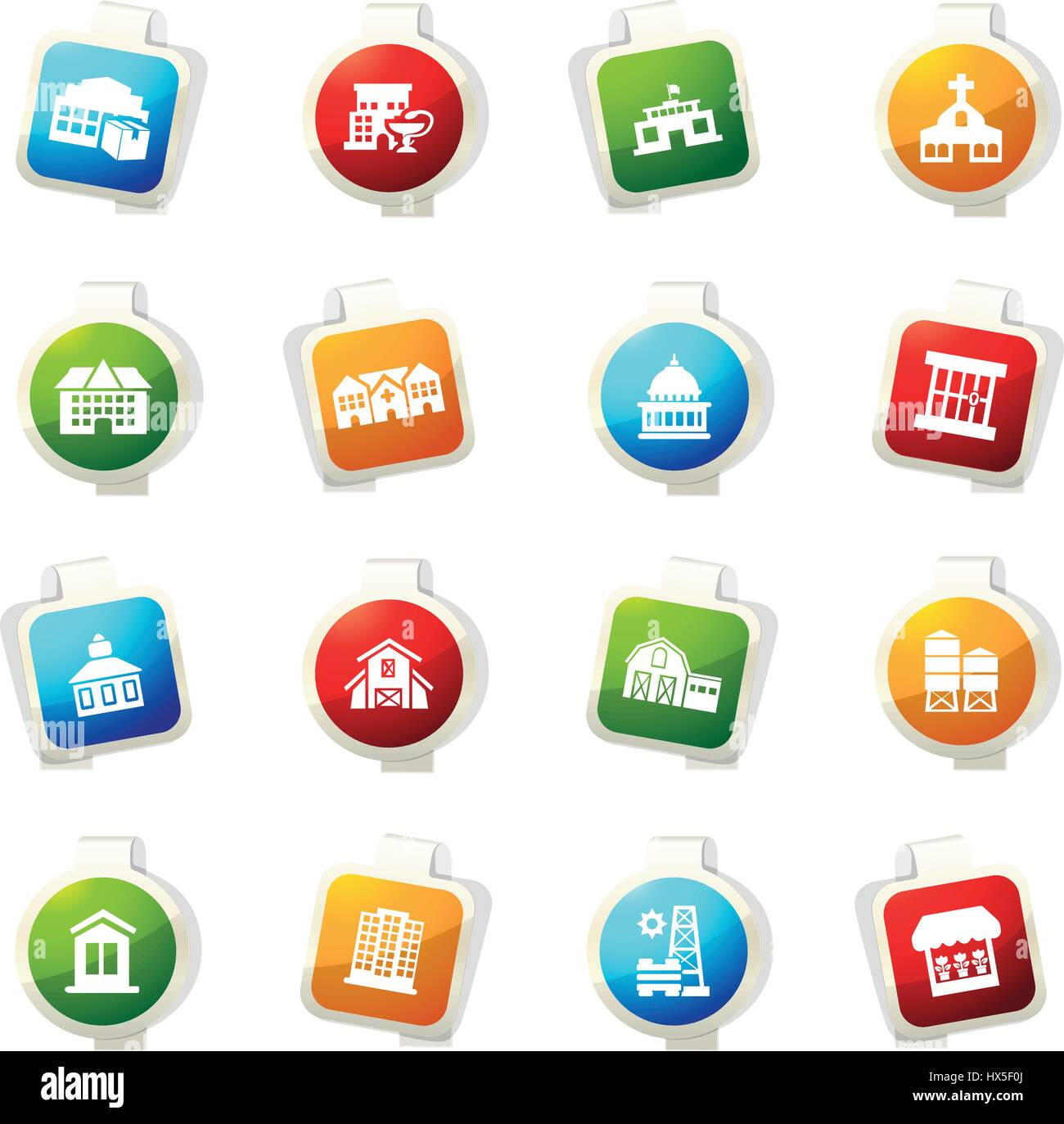Infrastucture of the city color icon for web sites and user interfaces Stock Vector