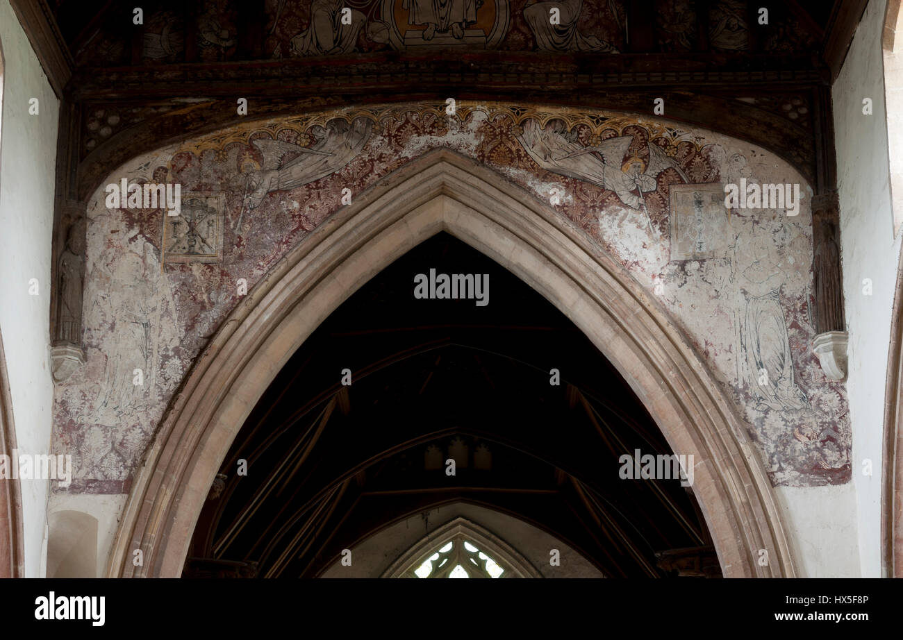 Medieval wall paintings in St. Peter`s Church, Wolferton, Norfolk, England, UK Stock Photo