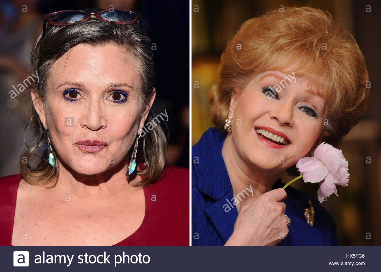 File photos of Carrie Fisher (left) and Debbie Reynolds, who will be remembered at a public memorial in Hollywood - Stock Image