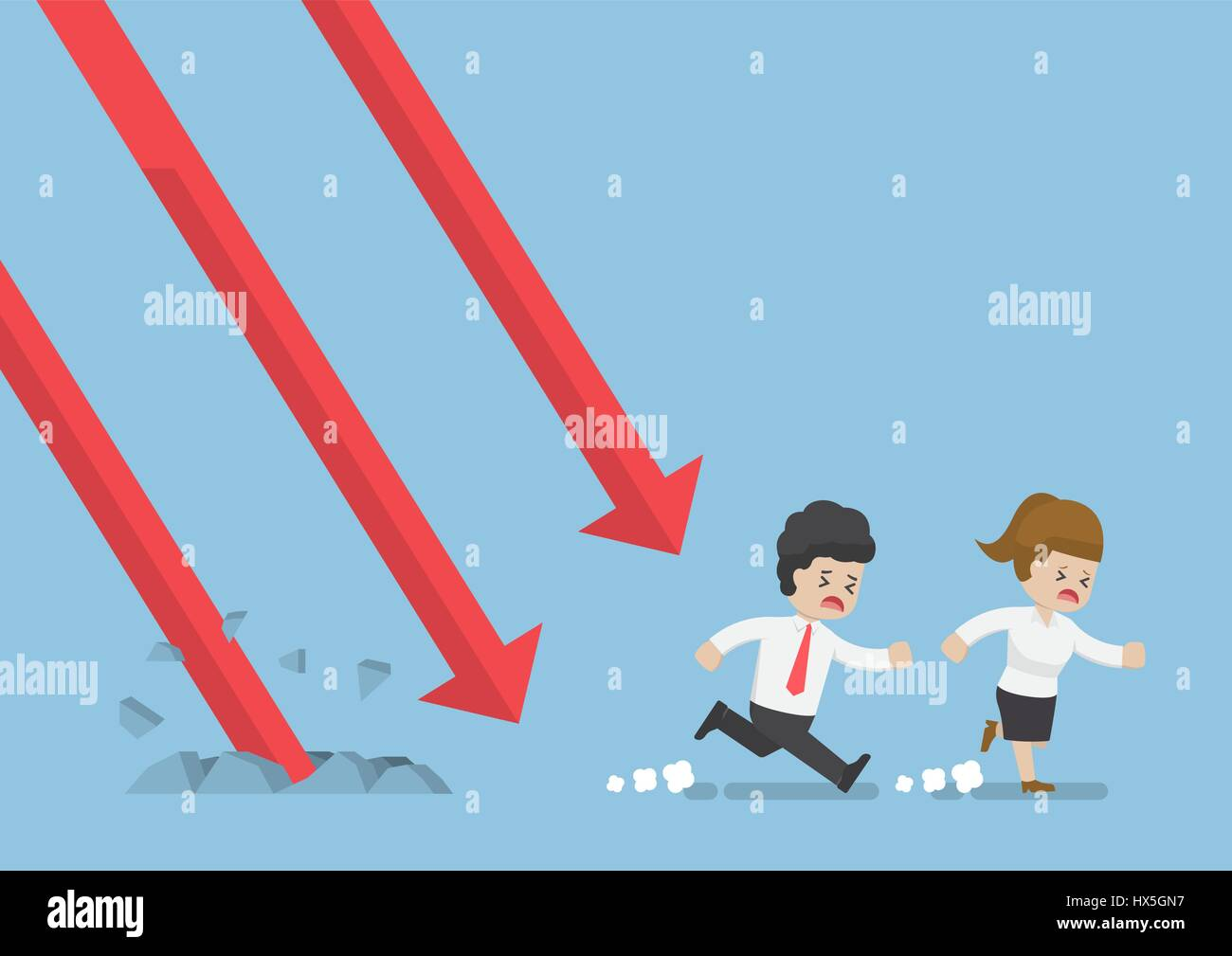Businessman and Businesswoman Run Away From Falling Graph, Investment Risk Concept Stock Vector