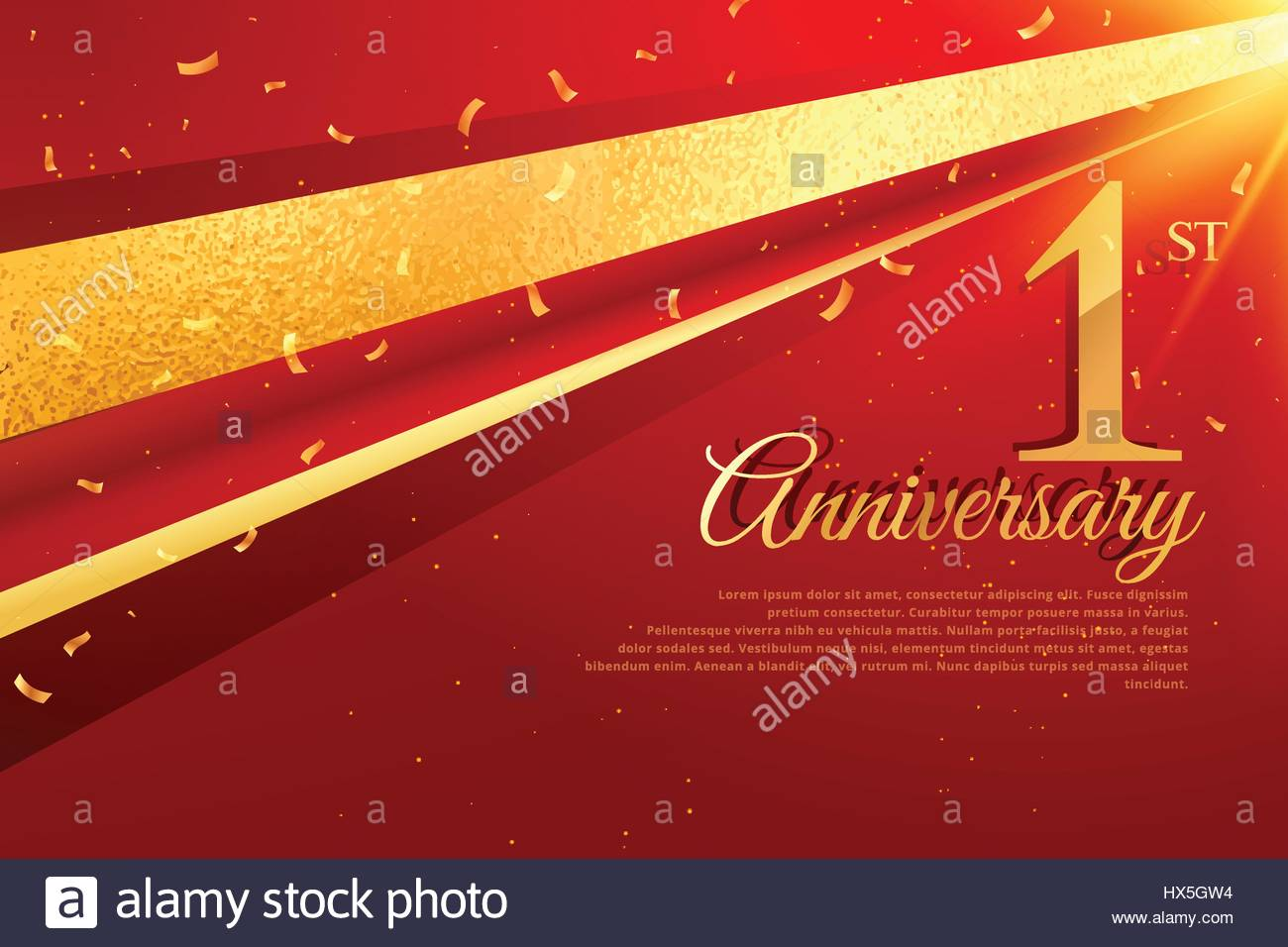 1st anniversary celebration card template - Stock Vector