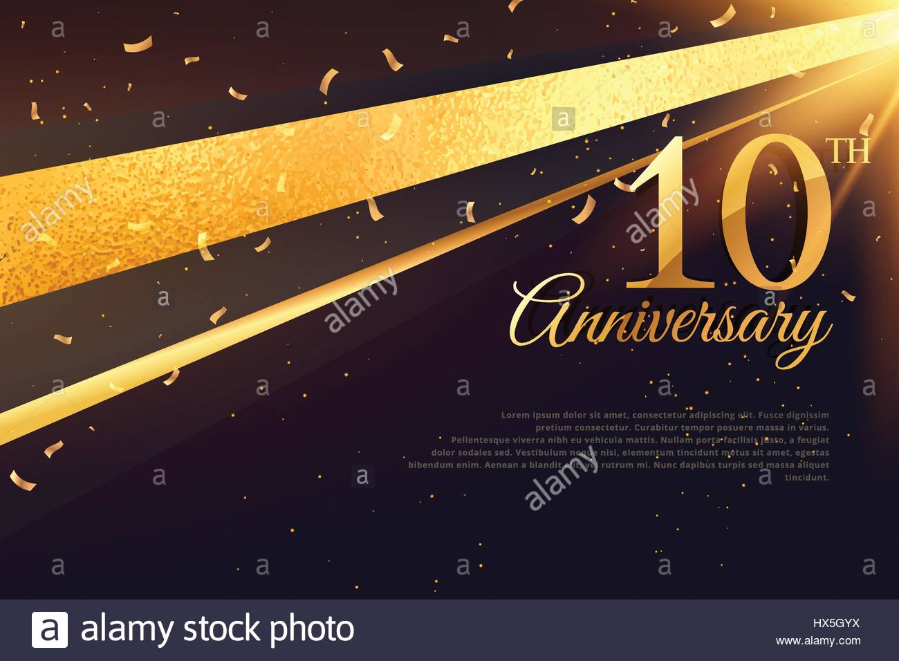 10th anniversary celebration card template - Stock Vector