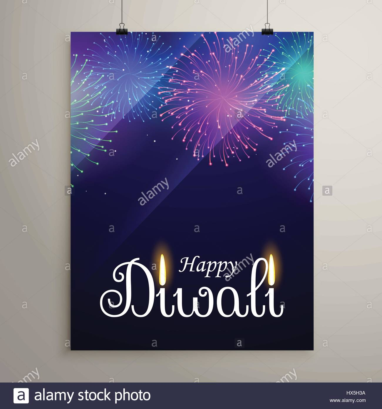 diwali festival fireworks in blue night sky flyer design template