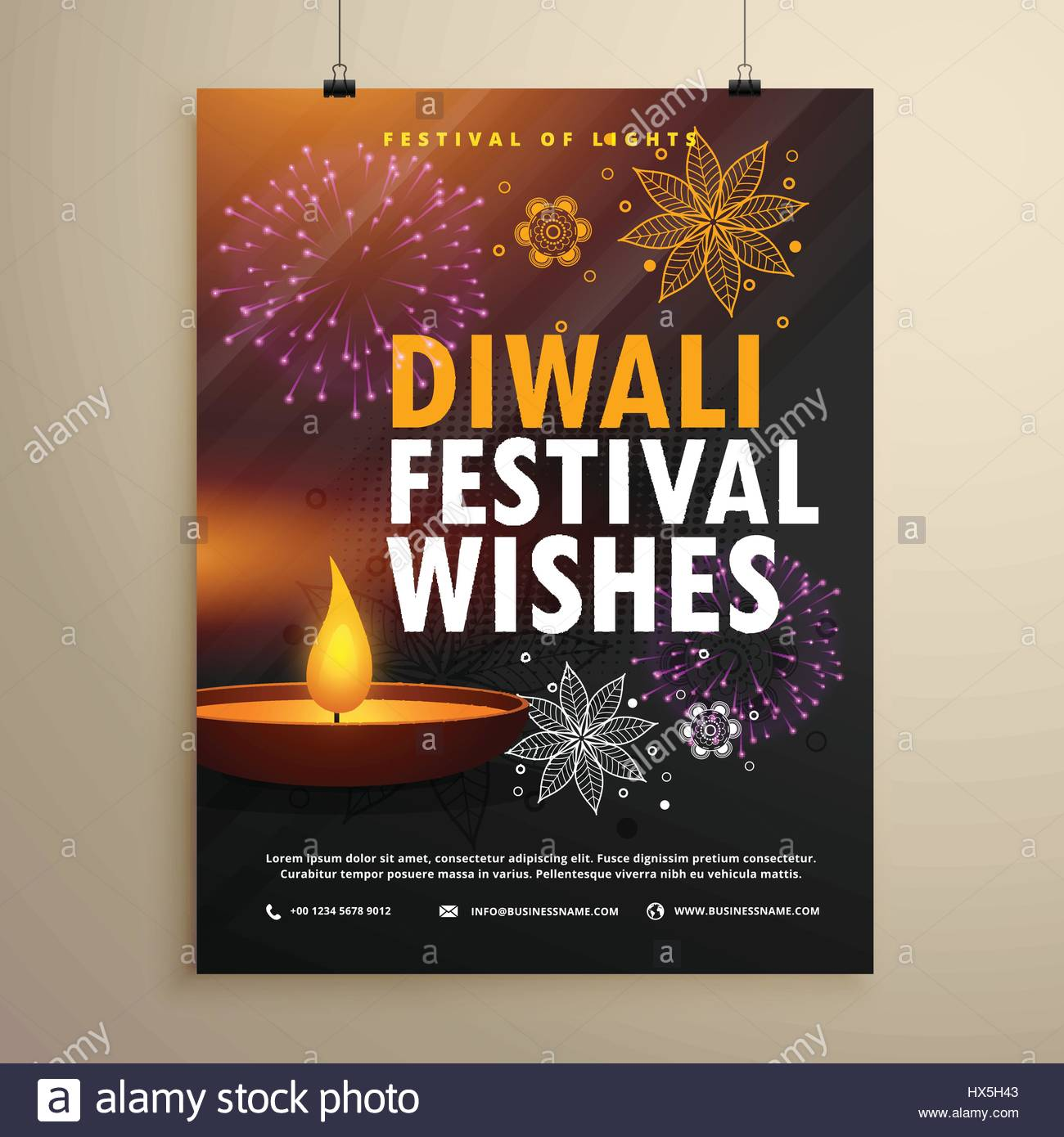 indian diwali festival greeting flyer template design stock vector