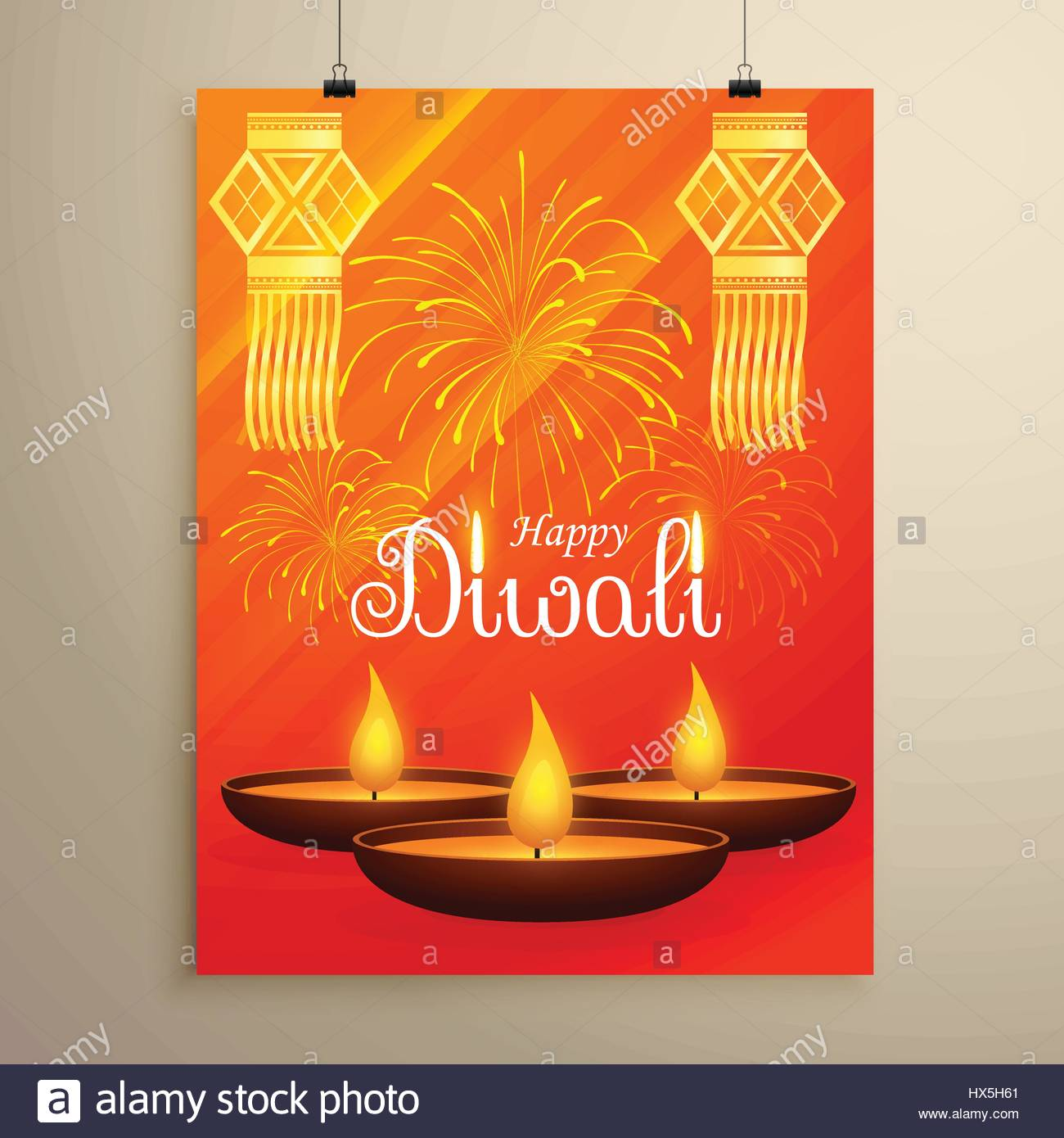 diwali festival flyer design with diya fireworks and hanging lamps