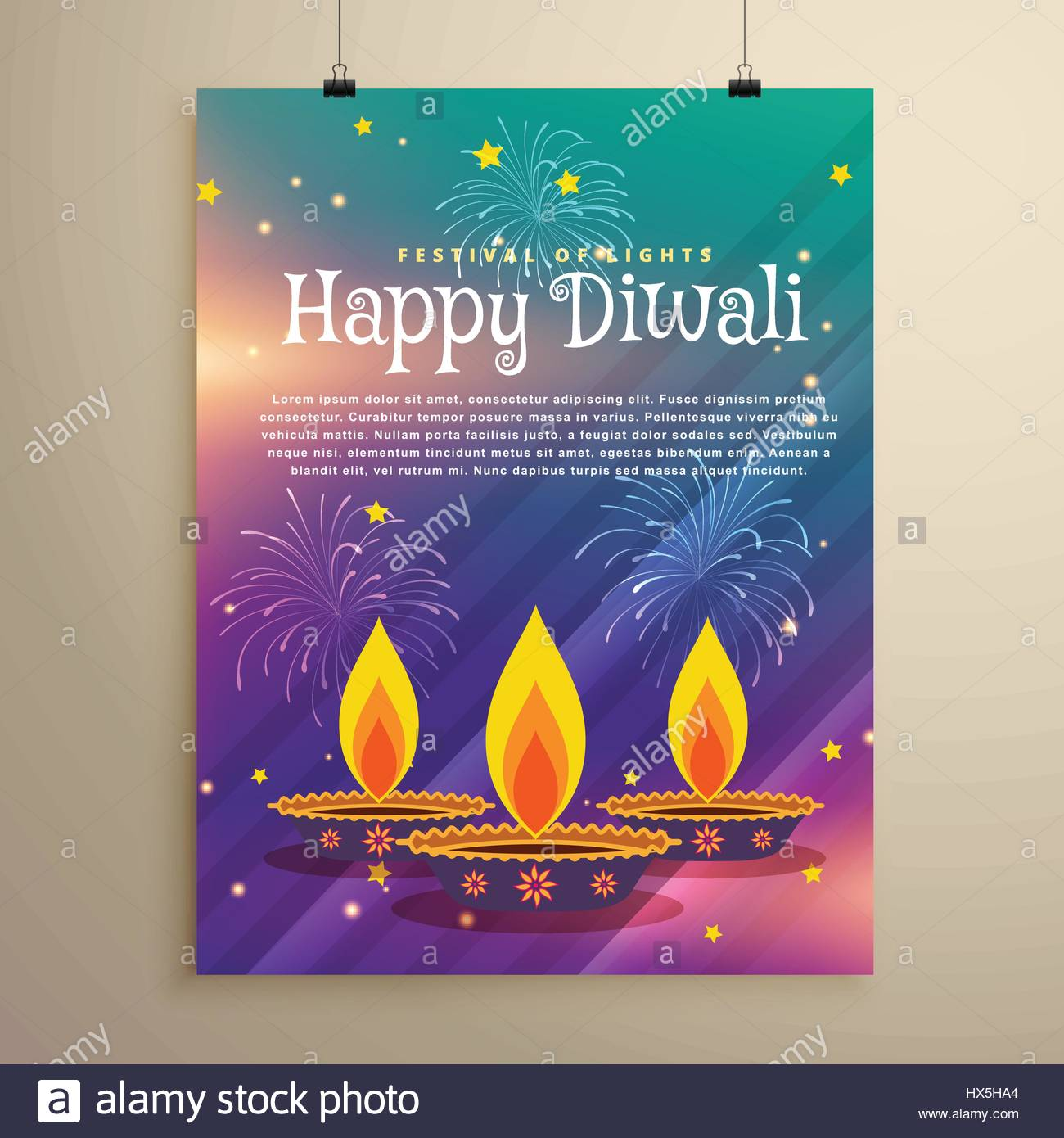 happy diwali festival flyer greeting template with three diya and