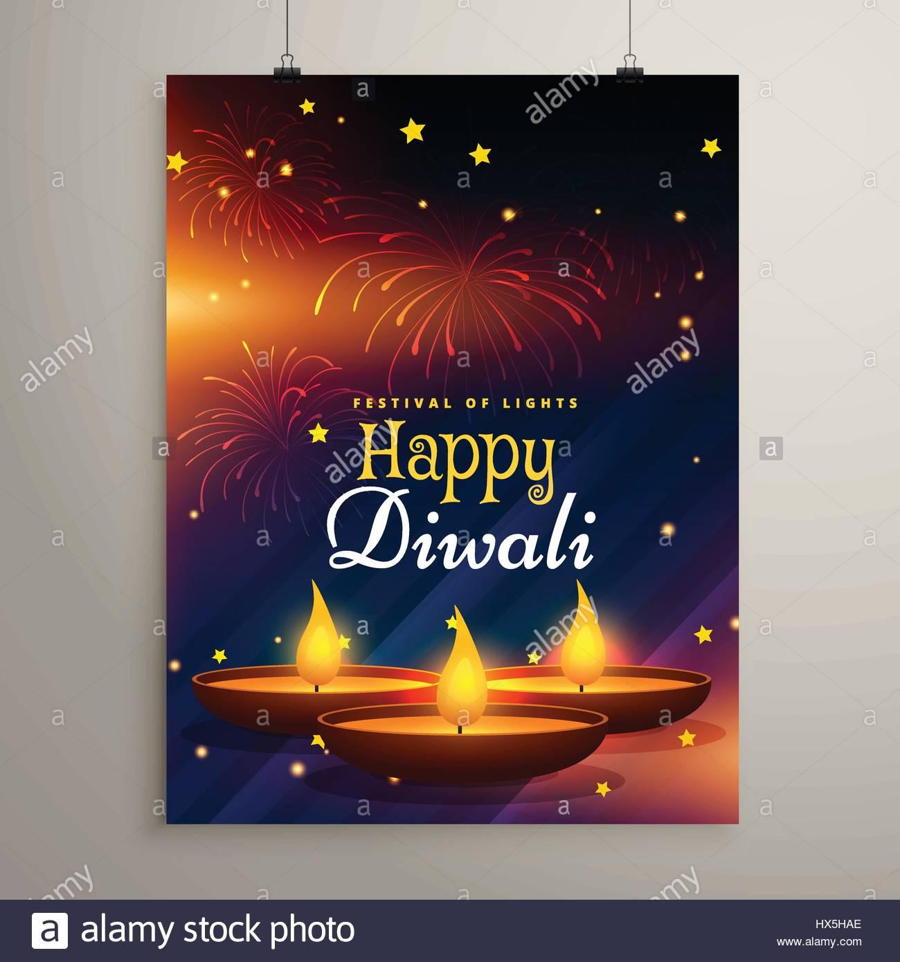 Flyer Design For Diwali Festival Diwali Greeting Card Stock Vector