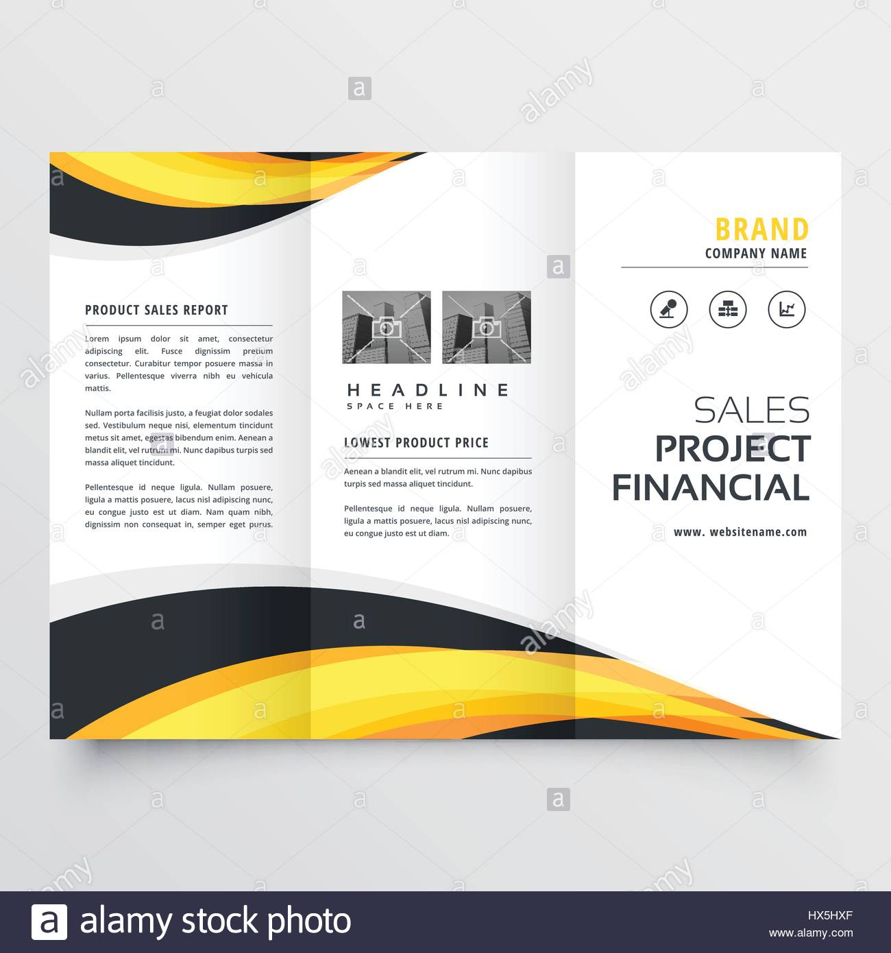 trifold brochure design with yellow and black waves stock vector art