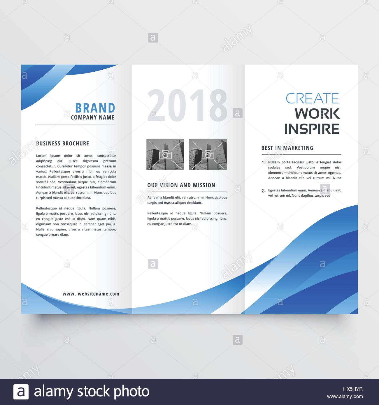 creative tri fold brochure design template with trendy wave style
