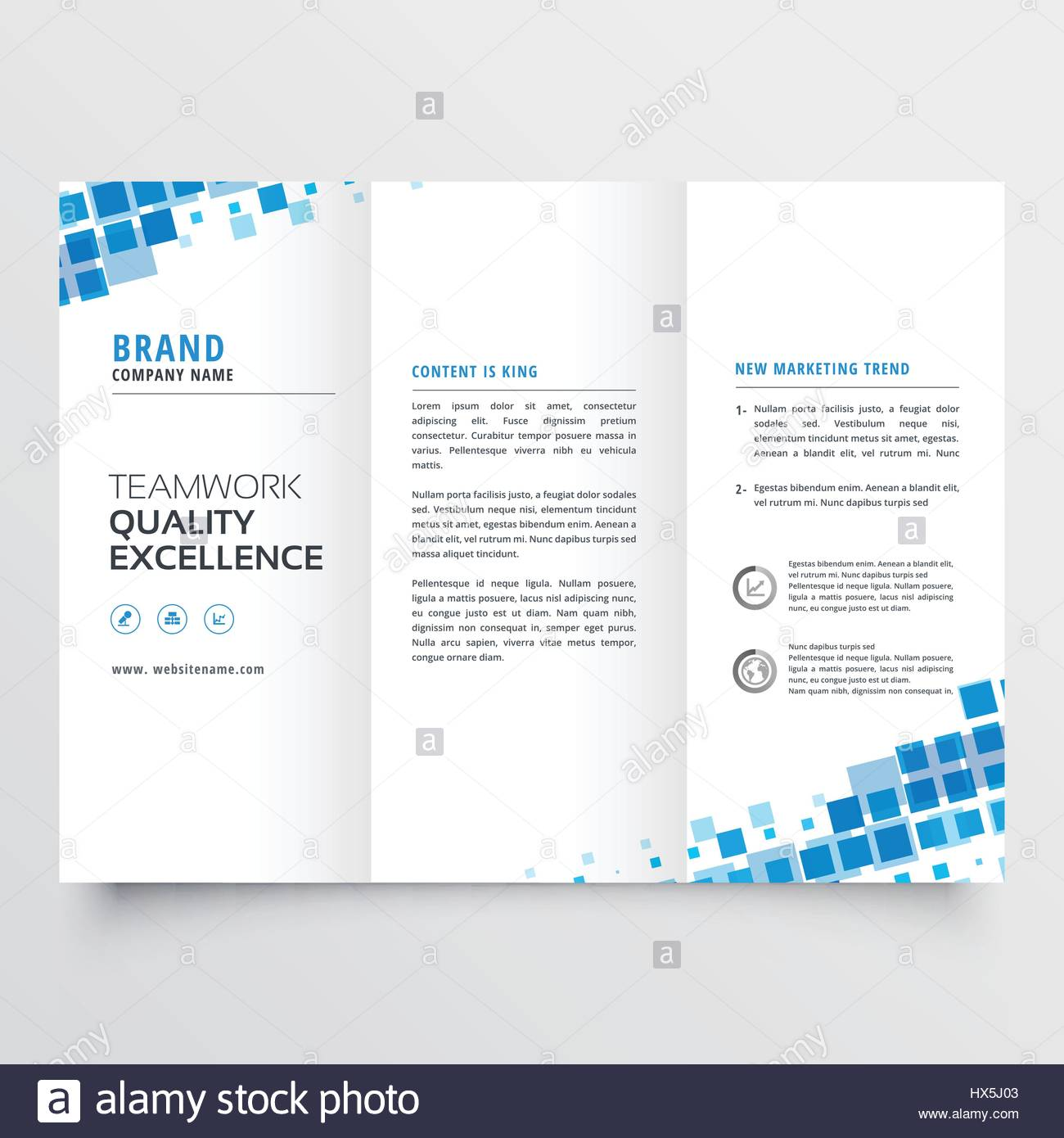 clean tri fold brochure template design with blue mosaic effect