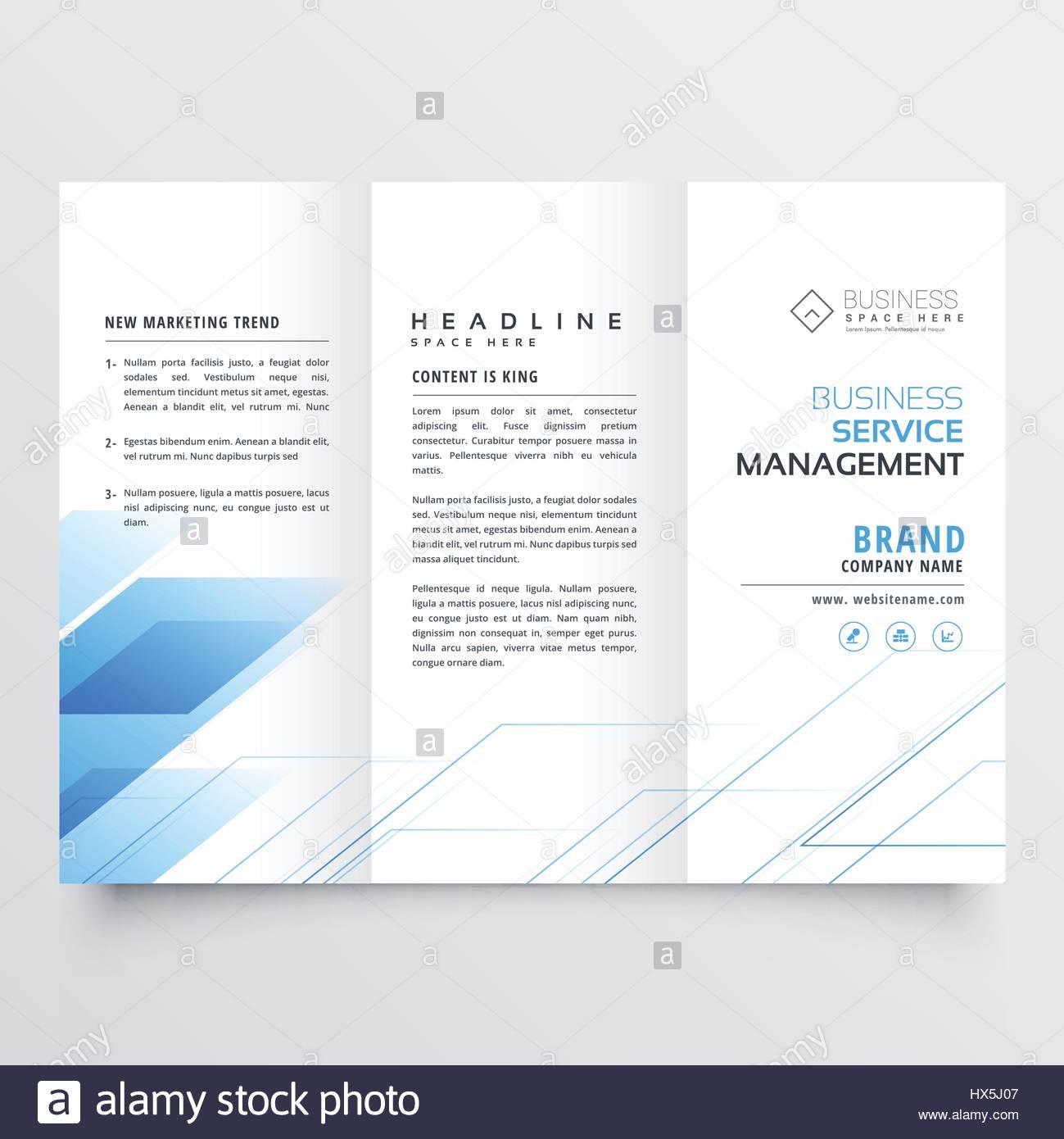 elegant blue business tri fold brochure flyer design print template