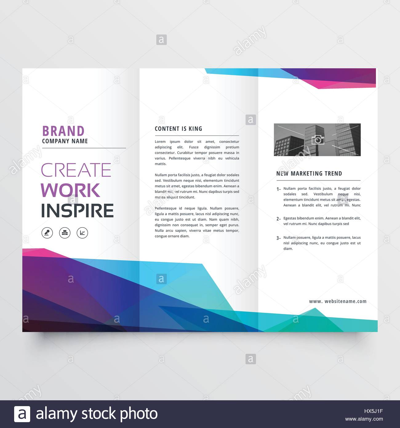 Abstract Colorful Tri Fold Brochure Design Template Stock Vector Art