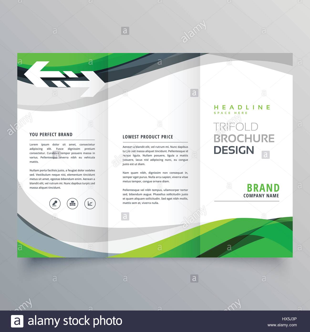 Modern creative trifold business brochure template with green stock modern creative trifold business brochure template with green abstract wave wajeb Images