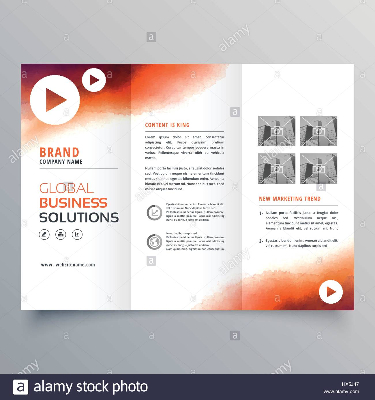 stylish trifold business brochure template made with orange ink