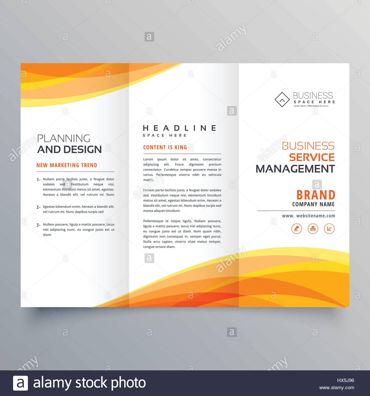 trifold brochure template with orange wave shapes stock vector art