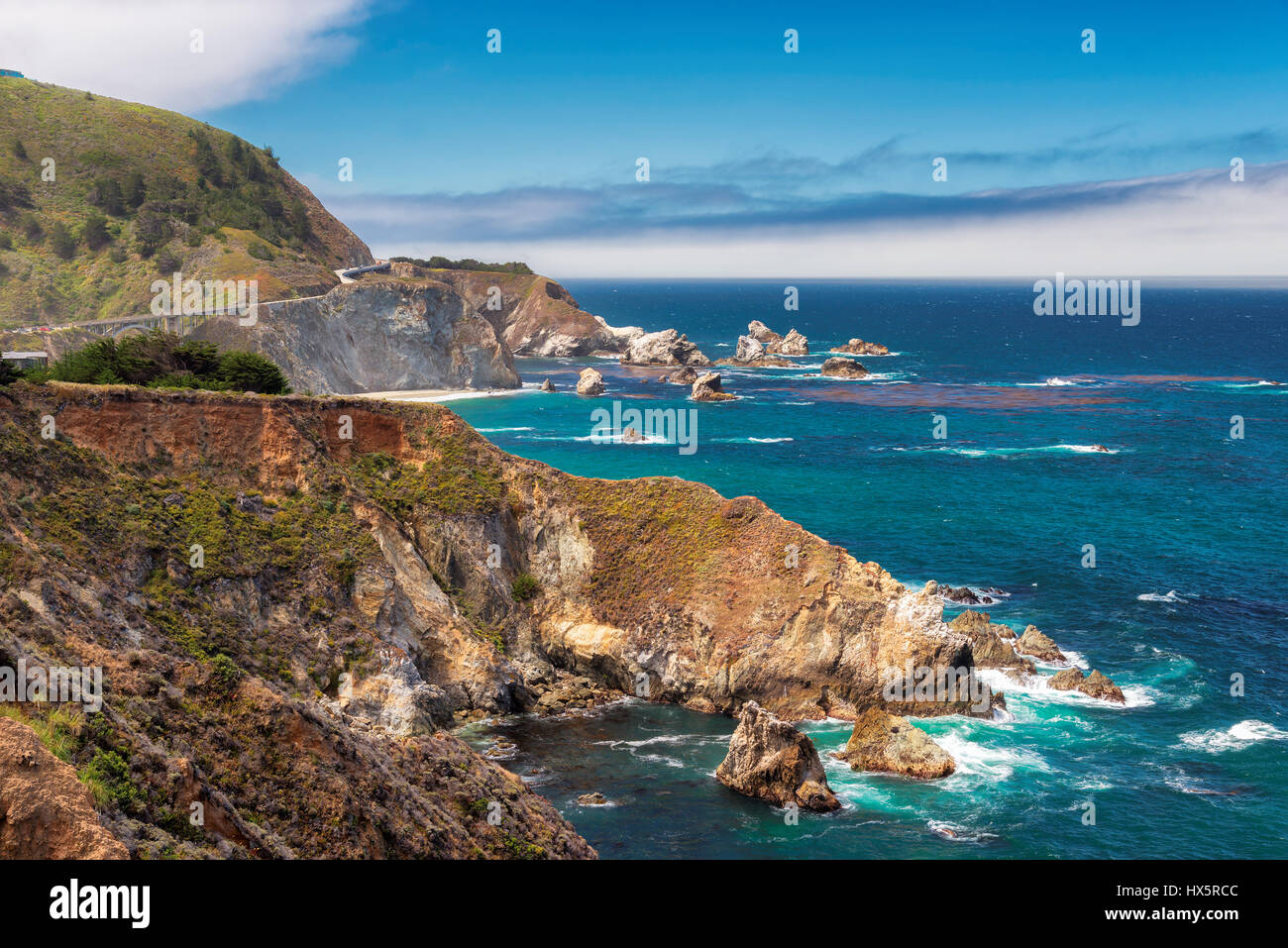 Beautiful View of the California Coastline along State Road 1. - Stock Image